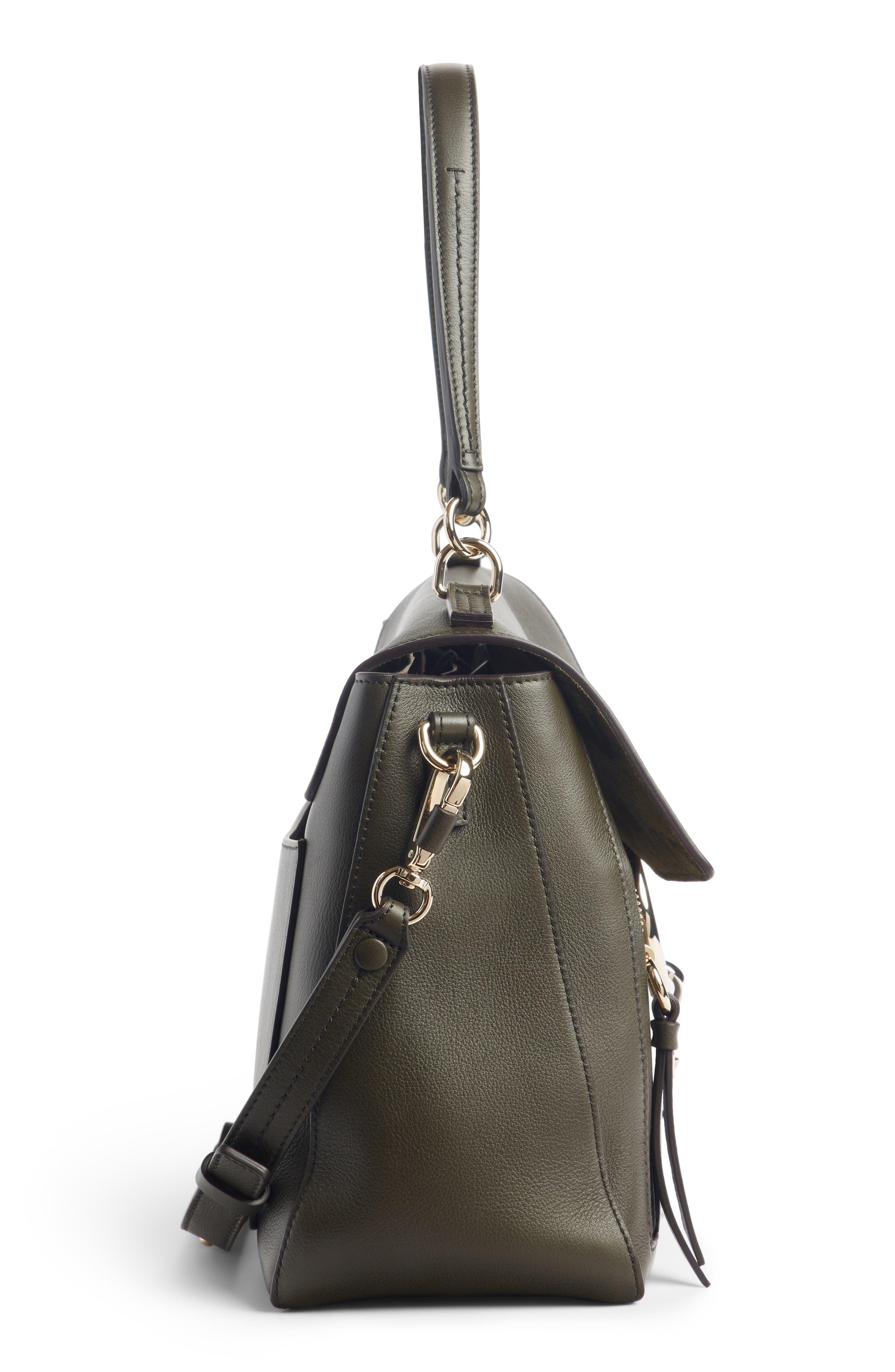 Medium Faye Leather Shoulder Bag,                             Alternate thumbnail 4, color,                             DEEP FOREST