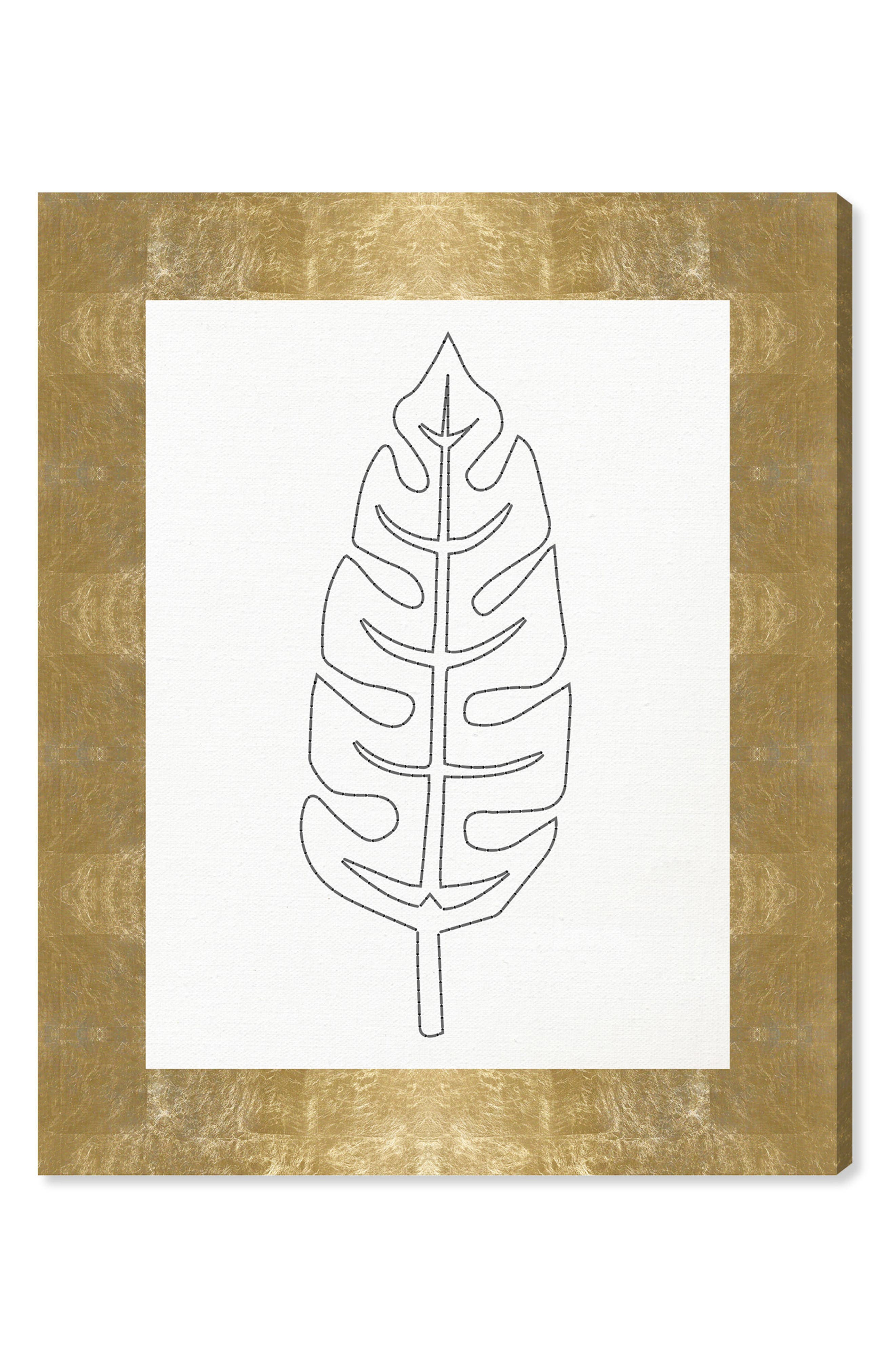 Stitched Palm Leaf II Canvas Wall Art,                         Main,                         color, WHITE