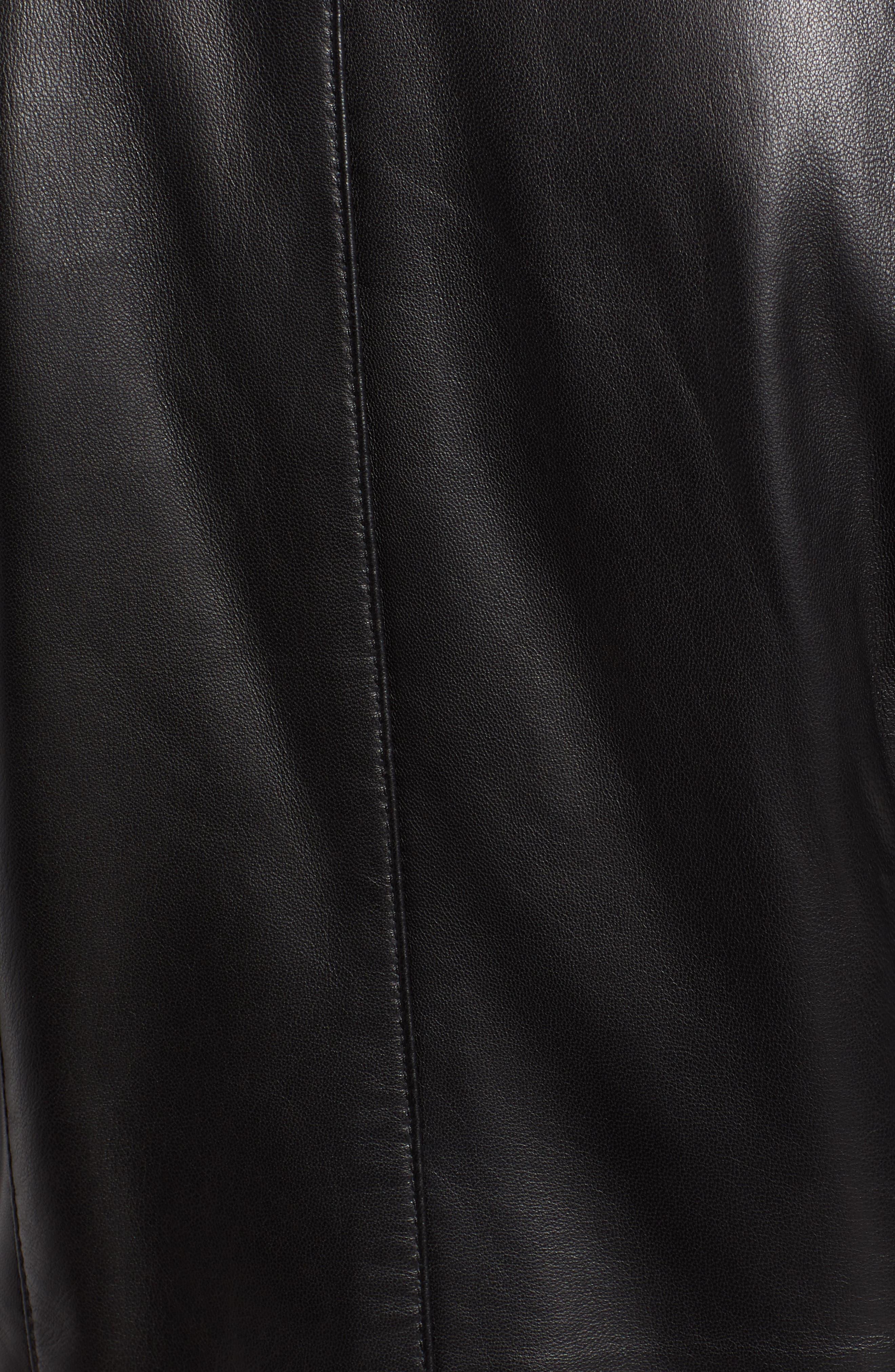 Collarless Pleated Sleeve Leather Jacket,                             Alternate thumbnail 7, color,                             BLACK