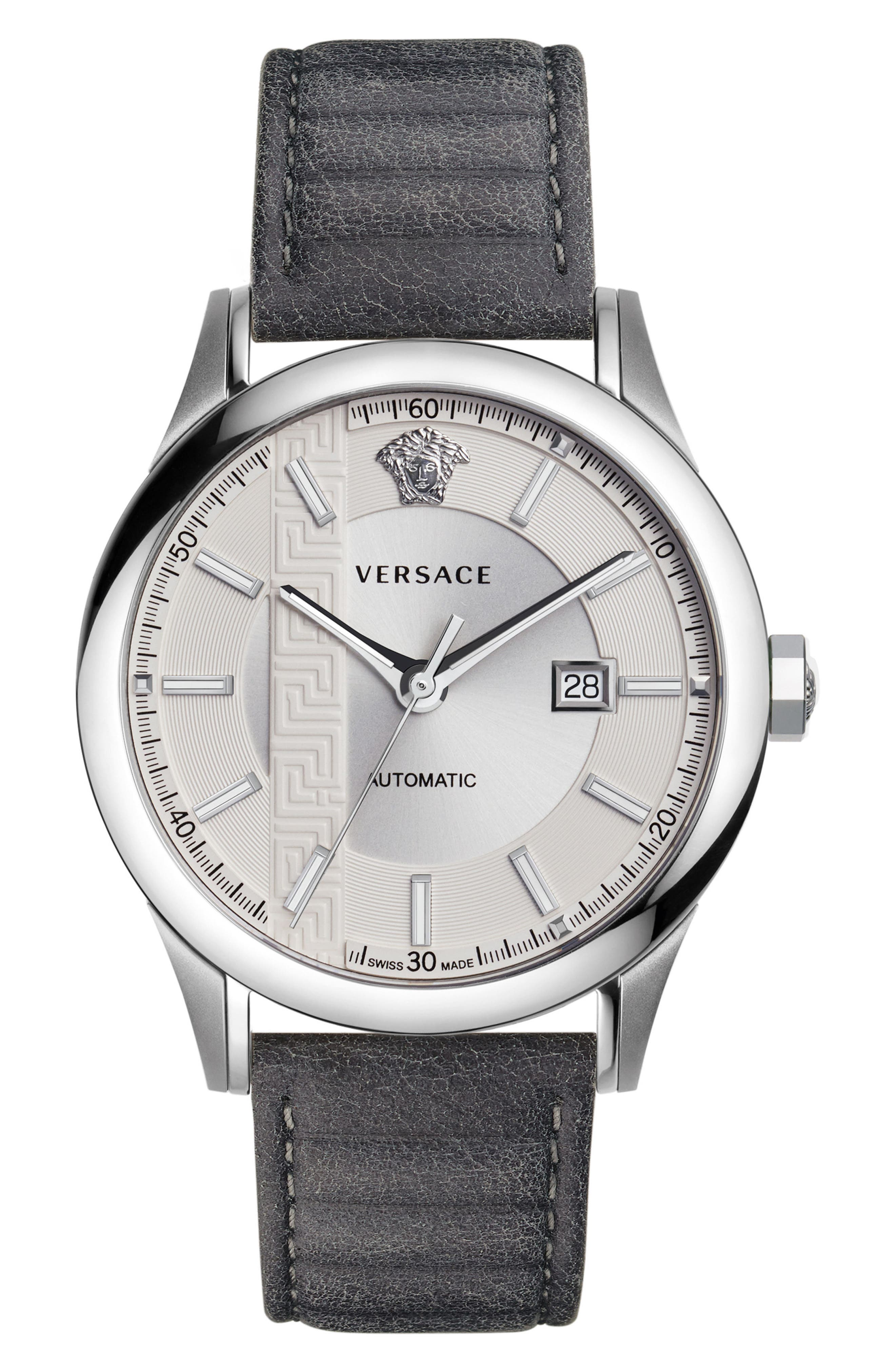Aiakos Automatic Leather Strap Watch, 44mm,                         Main,                         color, GREY/ SILVER