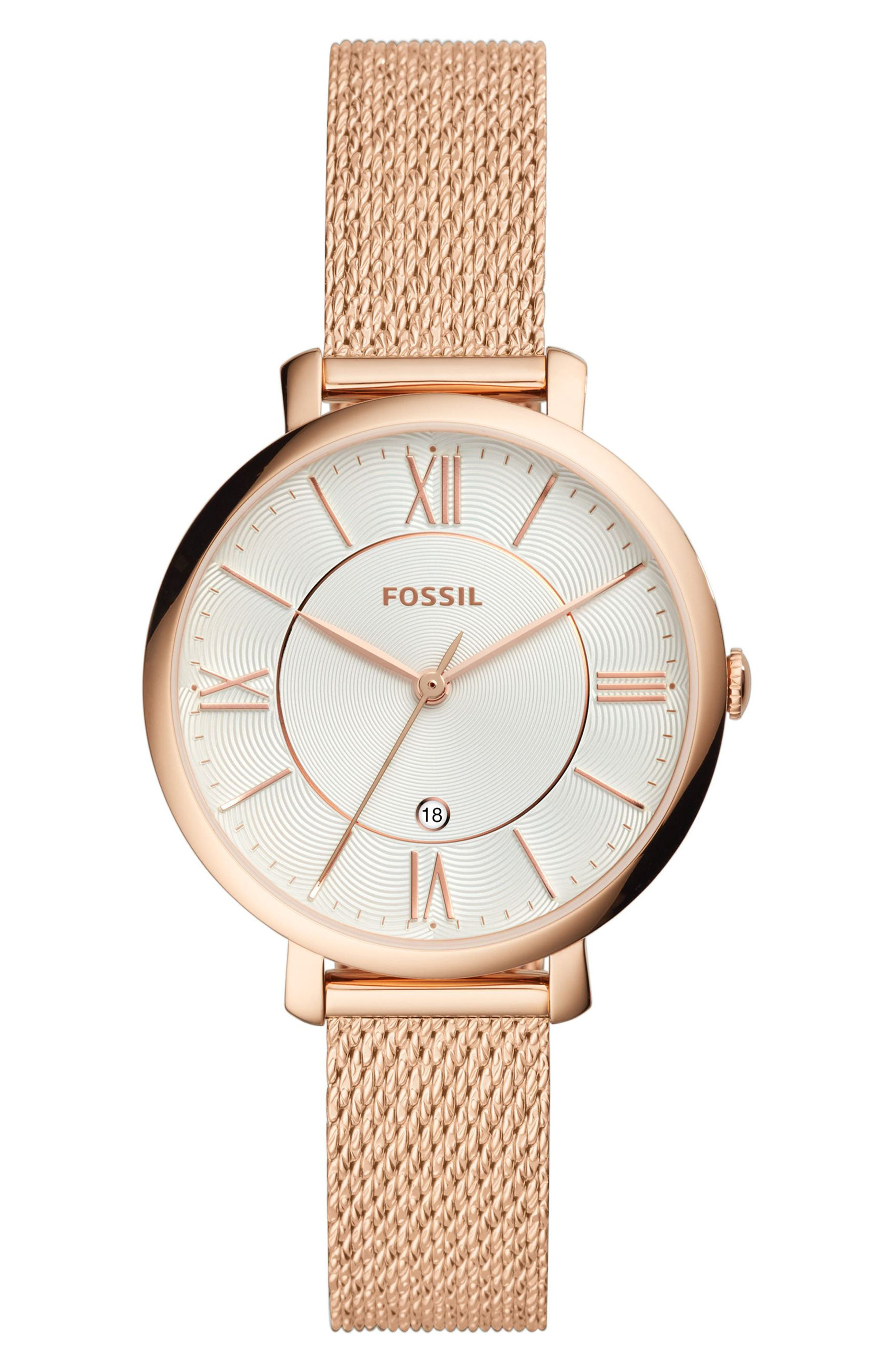 Jacqueline Mesh Strap Watch, 36mm,                         Main,                         color, ROSE GOLD/ SILVER/ ROSE GOLD