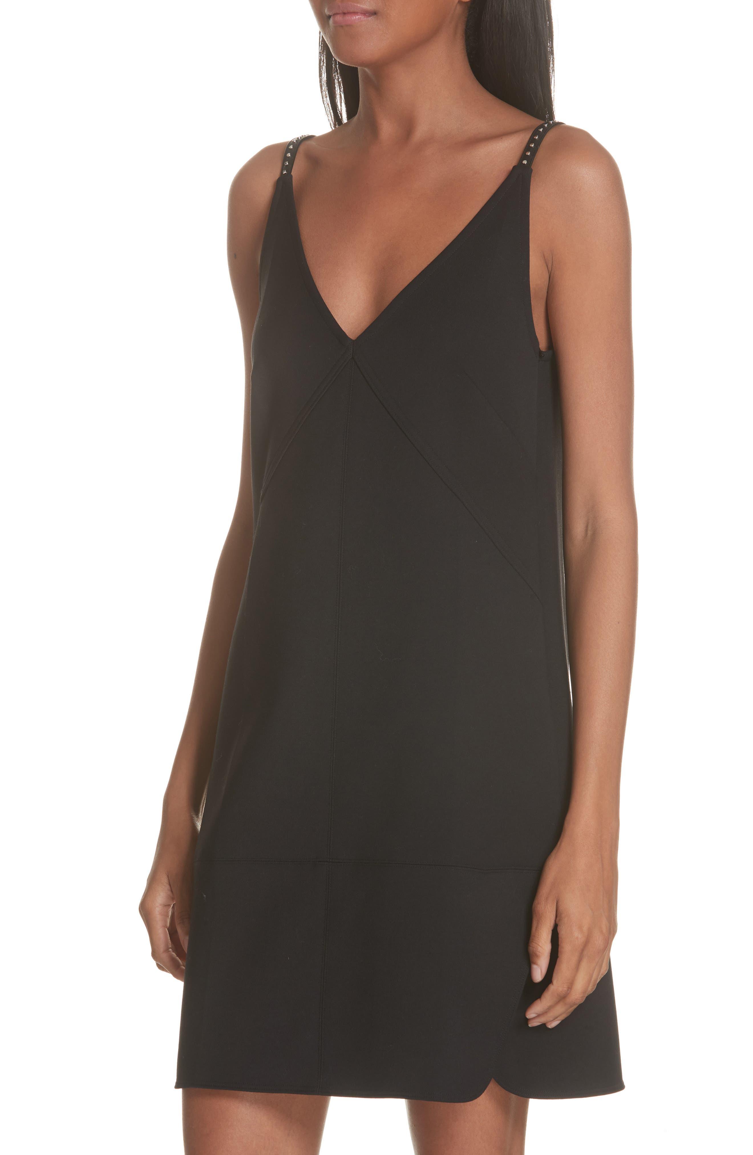 Studded Camisole Dress,                             Alternate thumbnail 4, color,                             BLACK