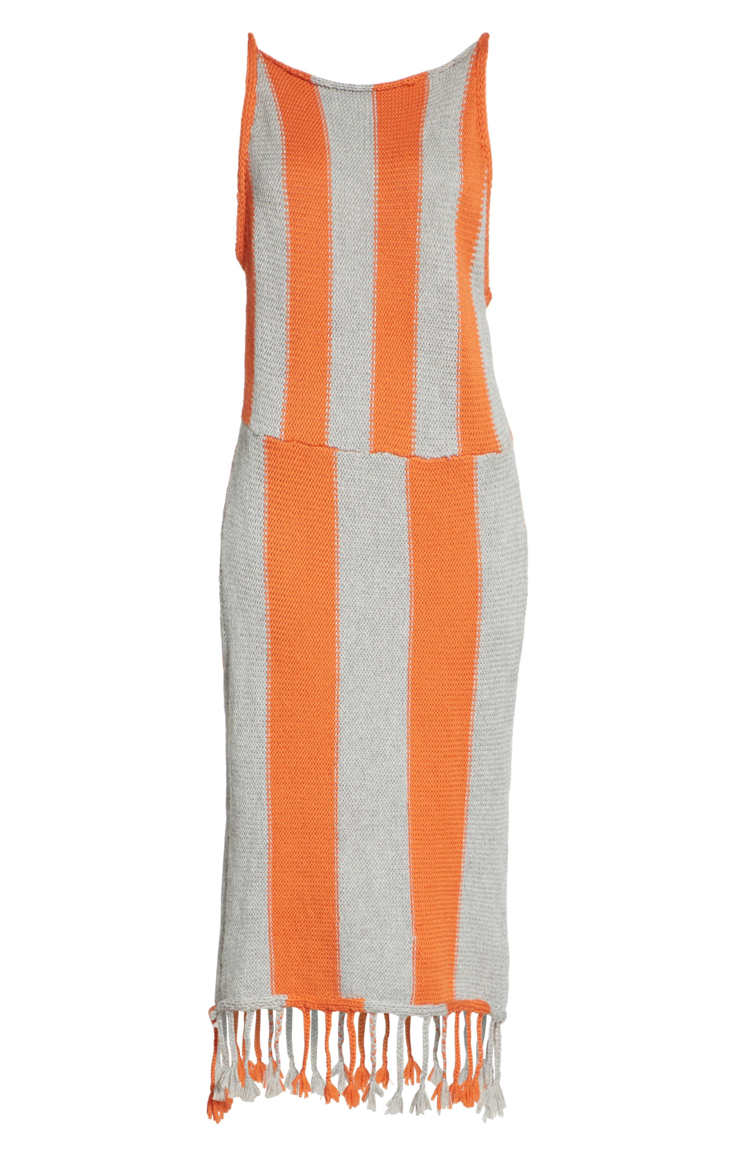 Stripe Tassel Hem Sweater Dress,                             Alternate thumbnail 7, color,                             GROG - GREY ORANGE