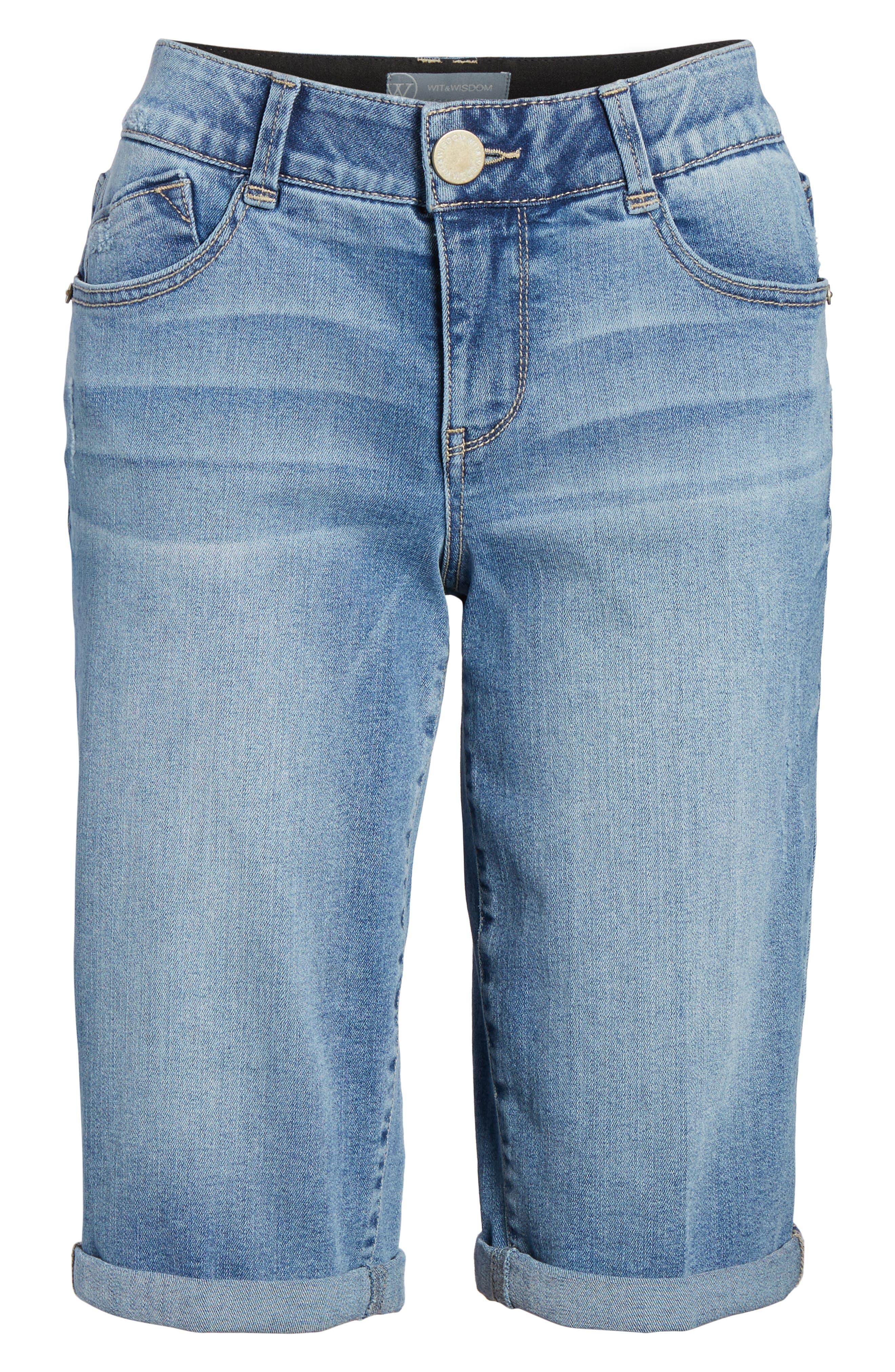 Ab-solution Cuffed Denim Shorts,                             Alternate thumbnail 7, color,                             LIGHT BLUE