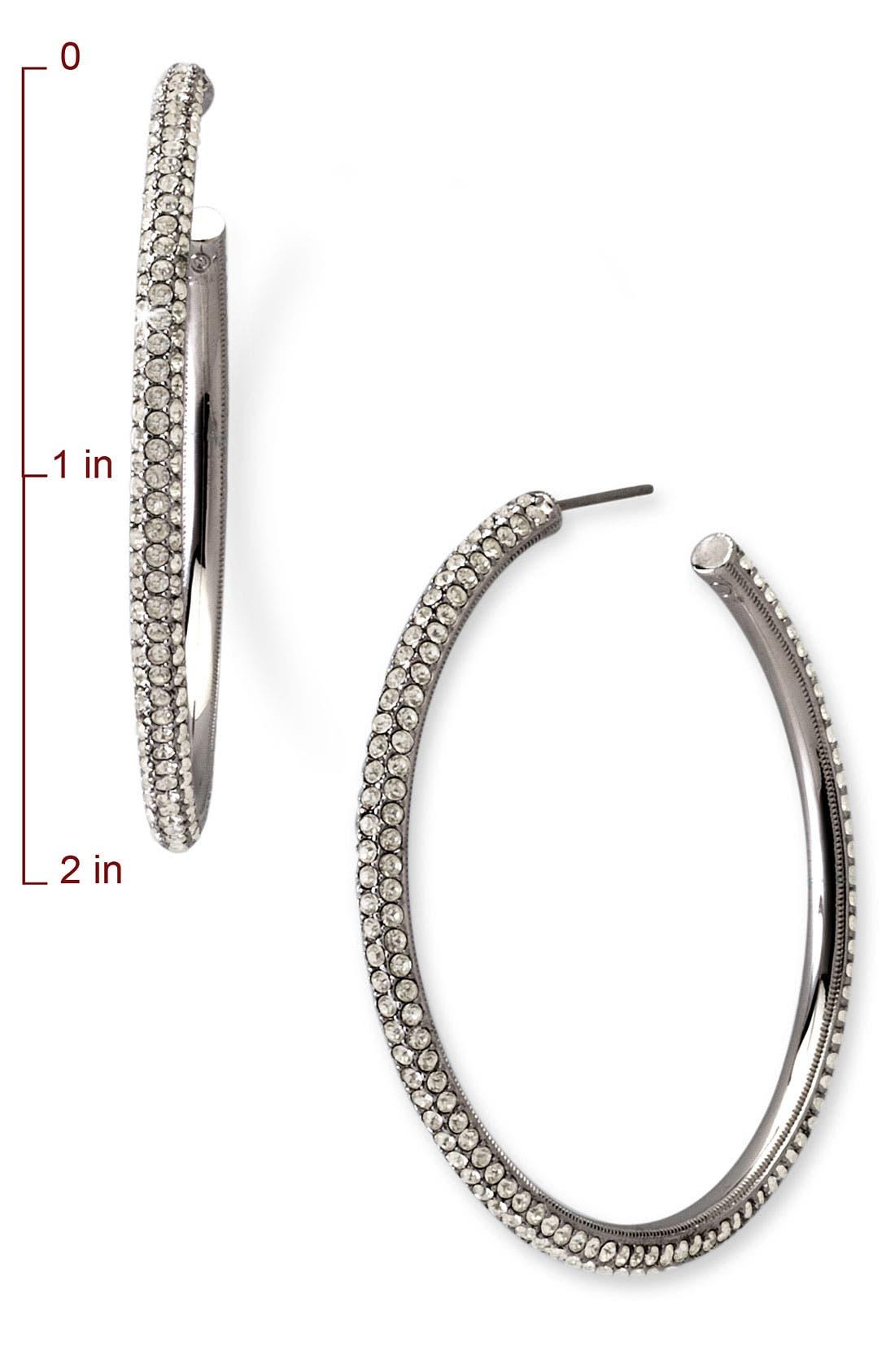 Large Pavé Crystal Hoop Earrings,                             Alternate thumbnail 2, color,                             001