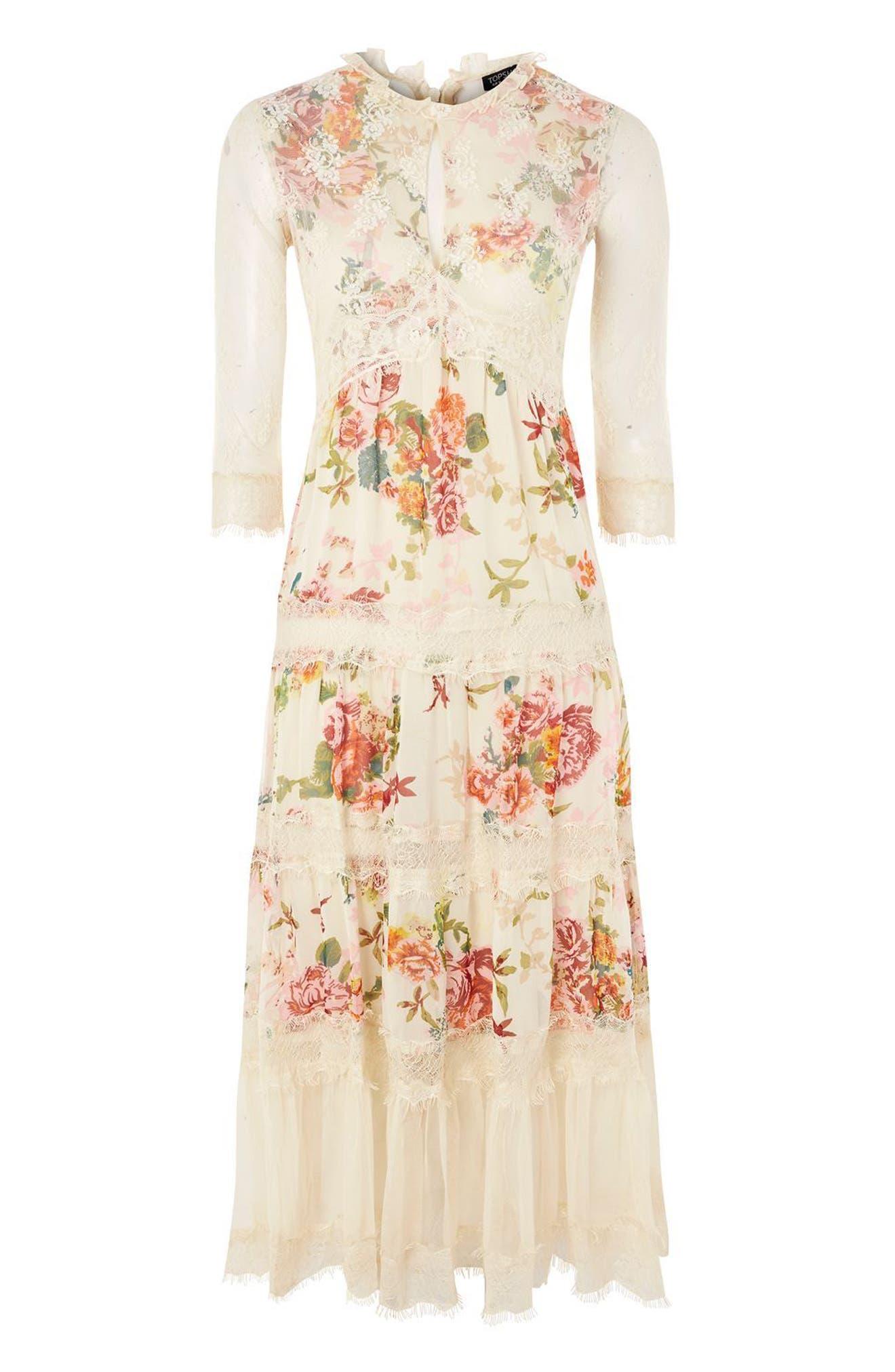 Lace Tier Floral Midi Dress,                             Alternate thumbnail 4, color,                             900