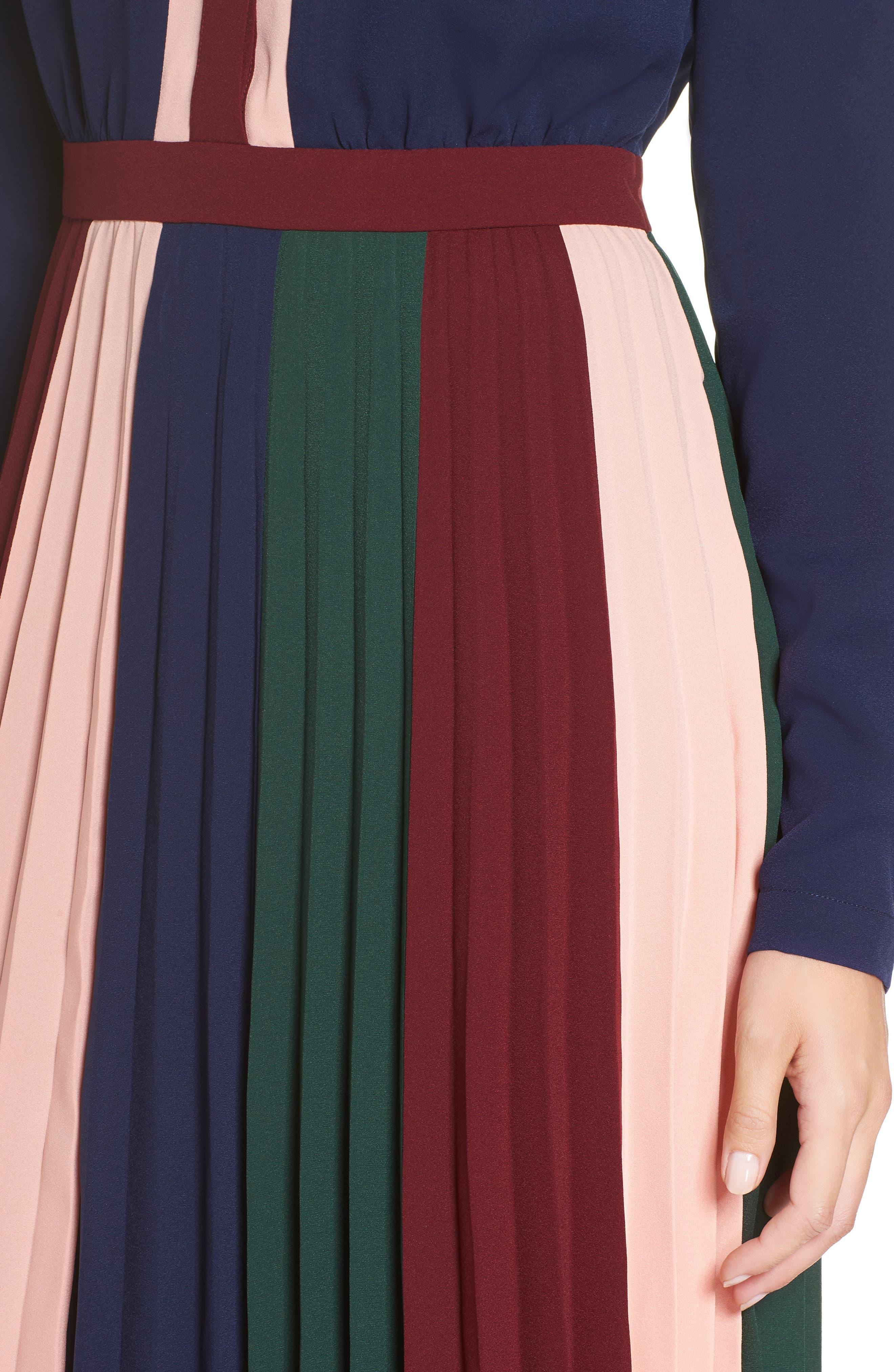 Colorblock Midi Dress,                             Alternate thumbnail 4, color,                             410