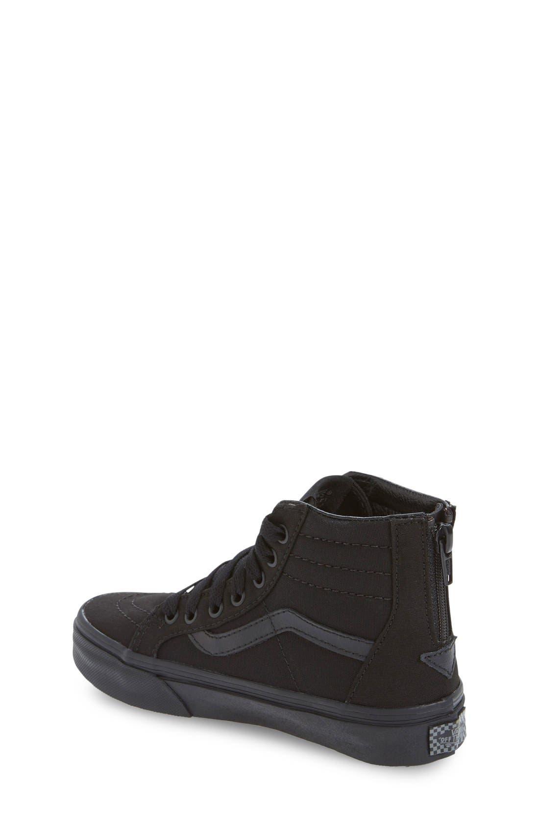 'Sk8-Hi' Zip Sneaker,                             Alternate thumbnail 3, color,                             BLACK /BLACK CHECK