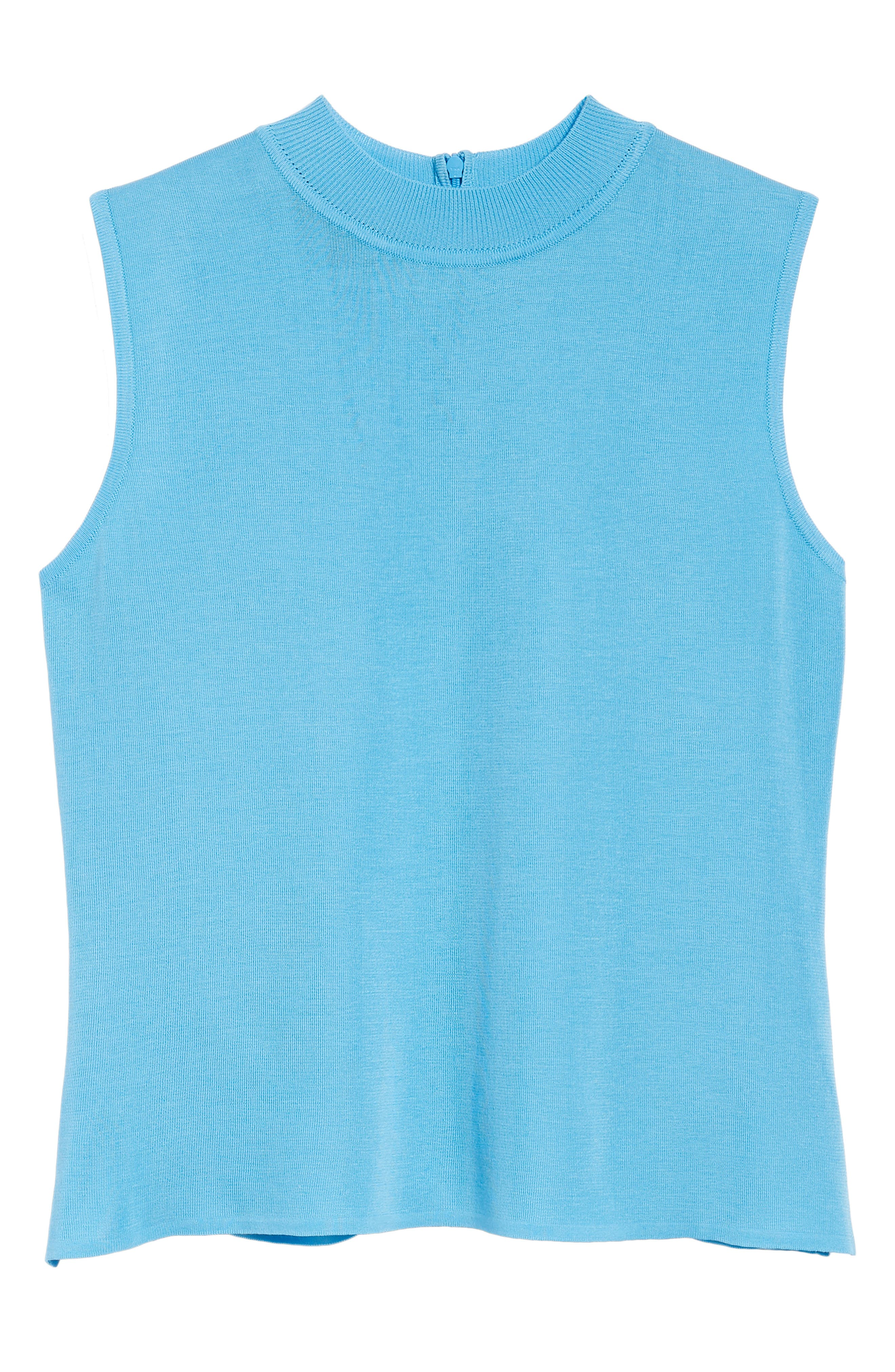 Mock Neck Knit Tank,                             Alternate thumbnail 6, color,                             BLUEBONNET