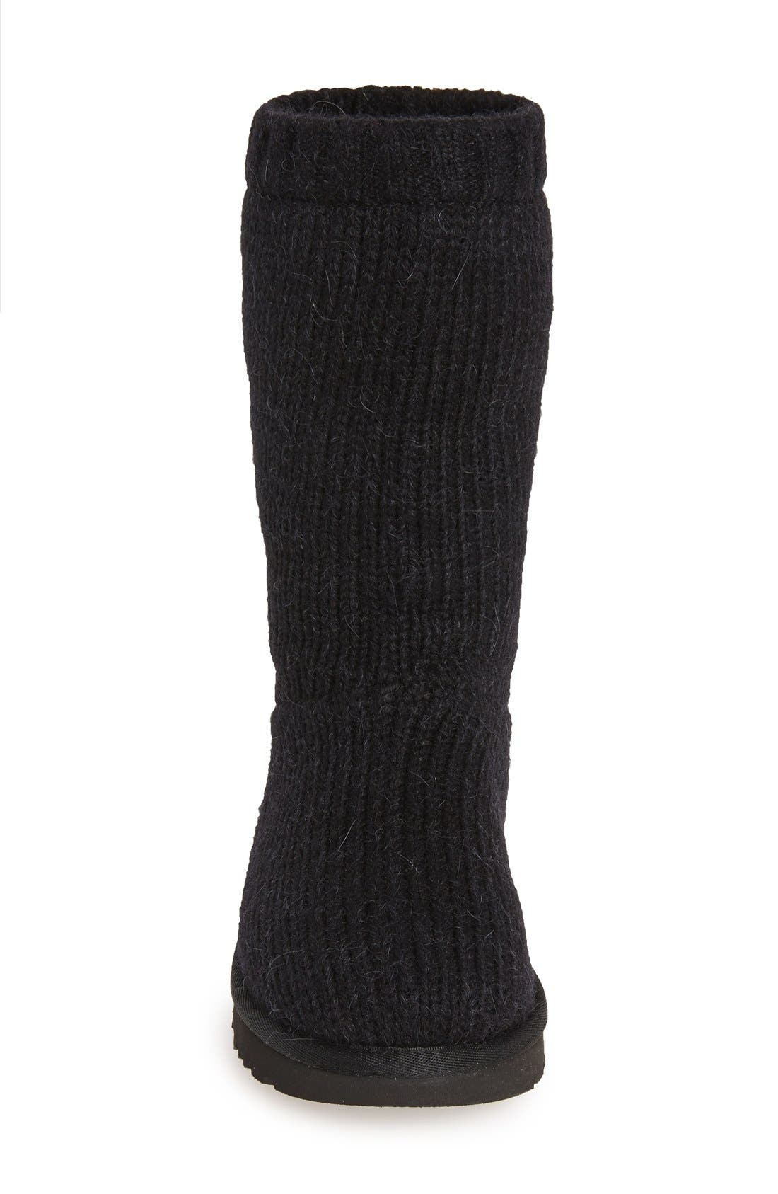 'Capra' Ribbed Knit Genuine Shearling Lined Boot,                             Alternate thumbnail 2, color,                             001