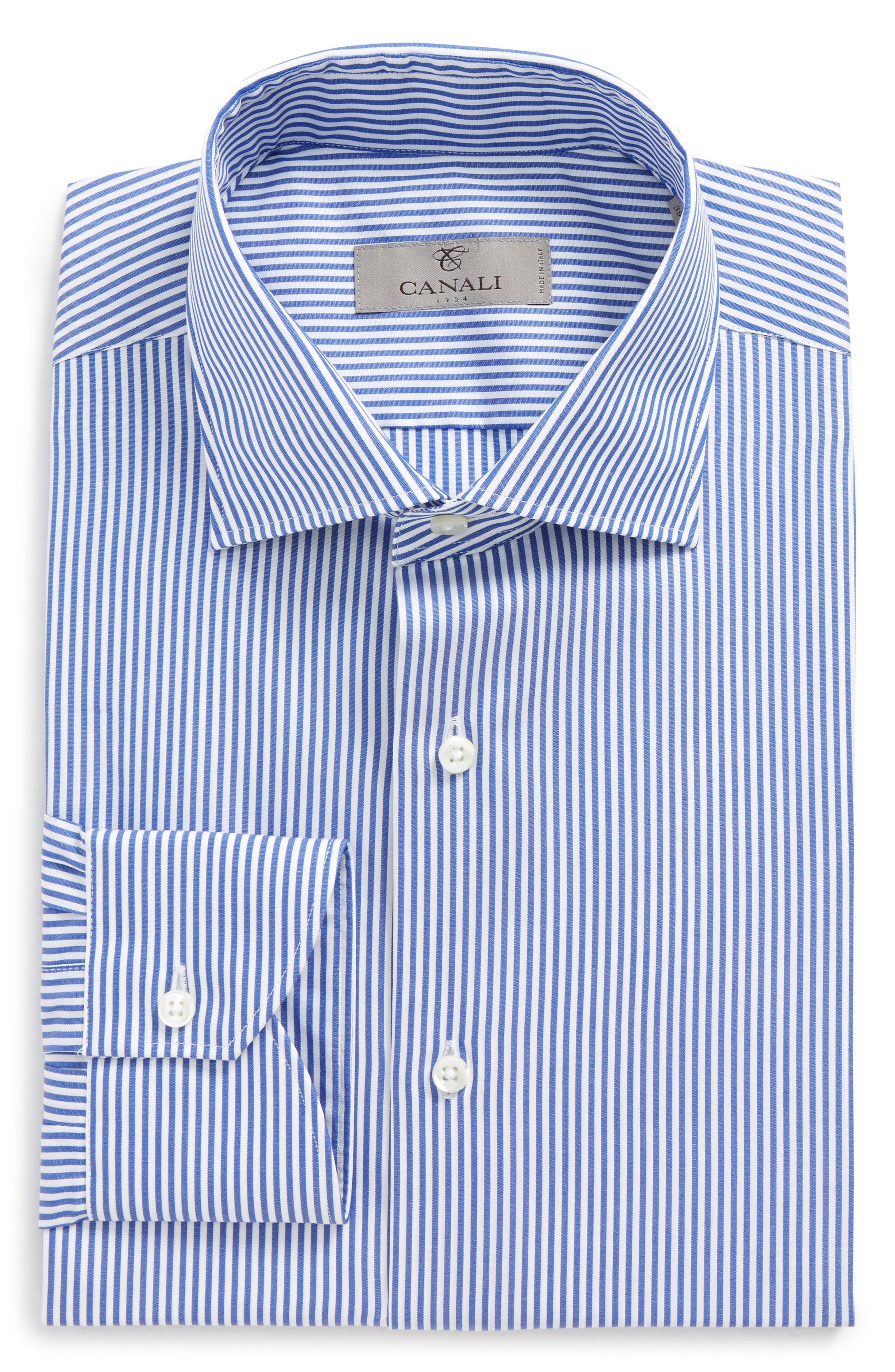 Regular Fit Stripe Dress Shirt,                             Main thumbnail 1, color,                             410