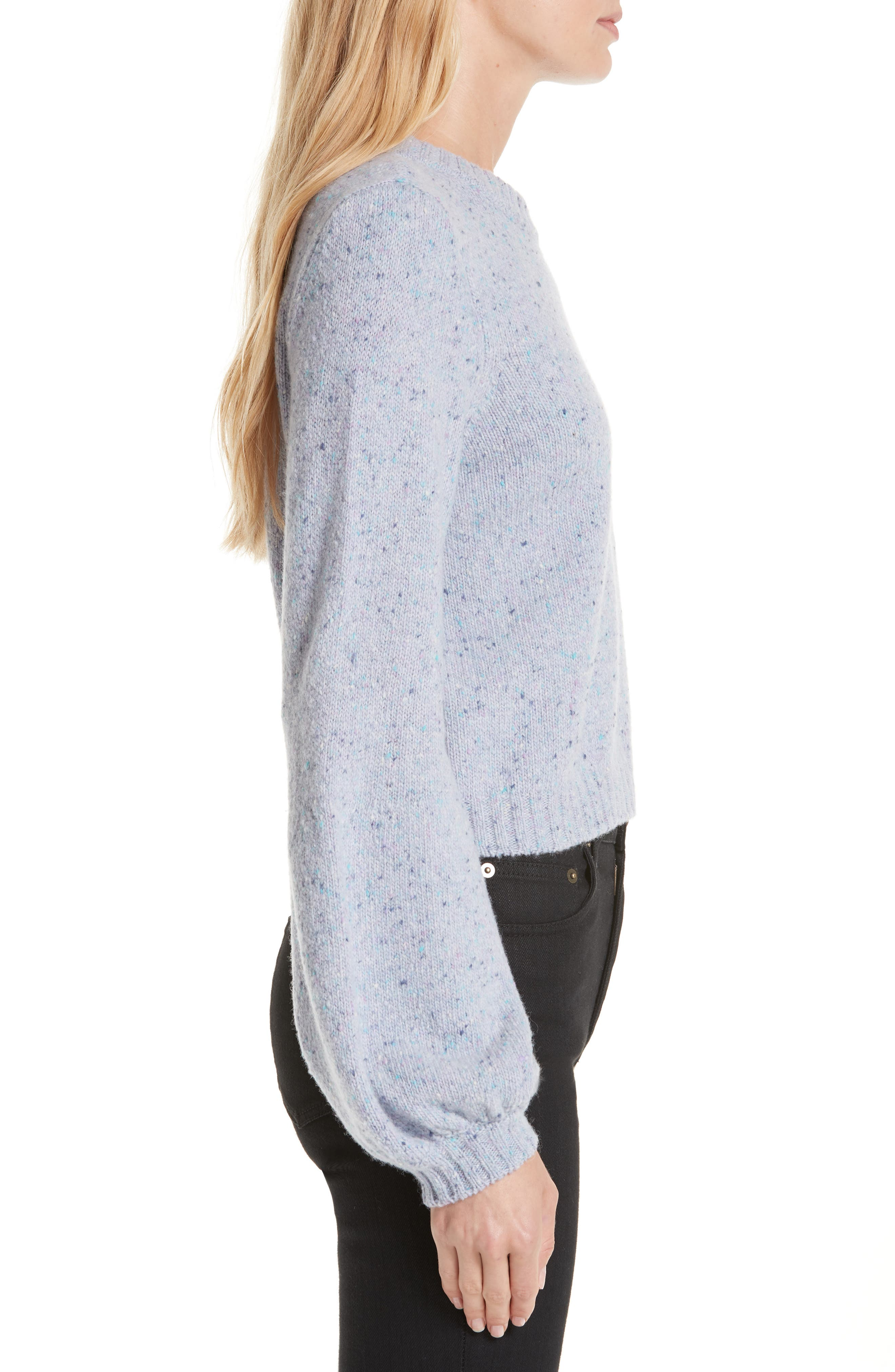 Bell Sleeve Wool Blend Sweater,                             Alternate thumbnail 3, color,                             BABY BLUE