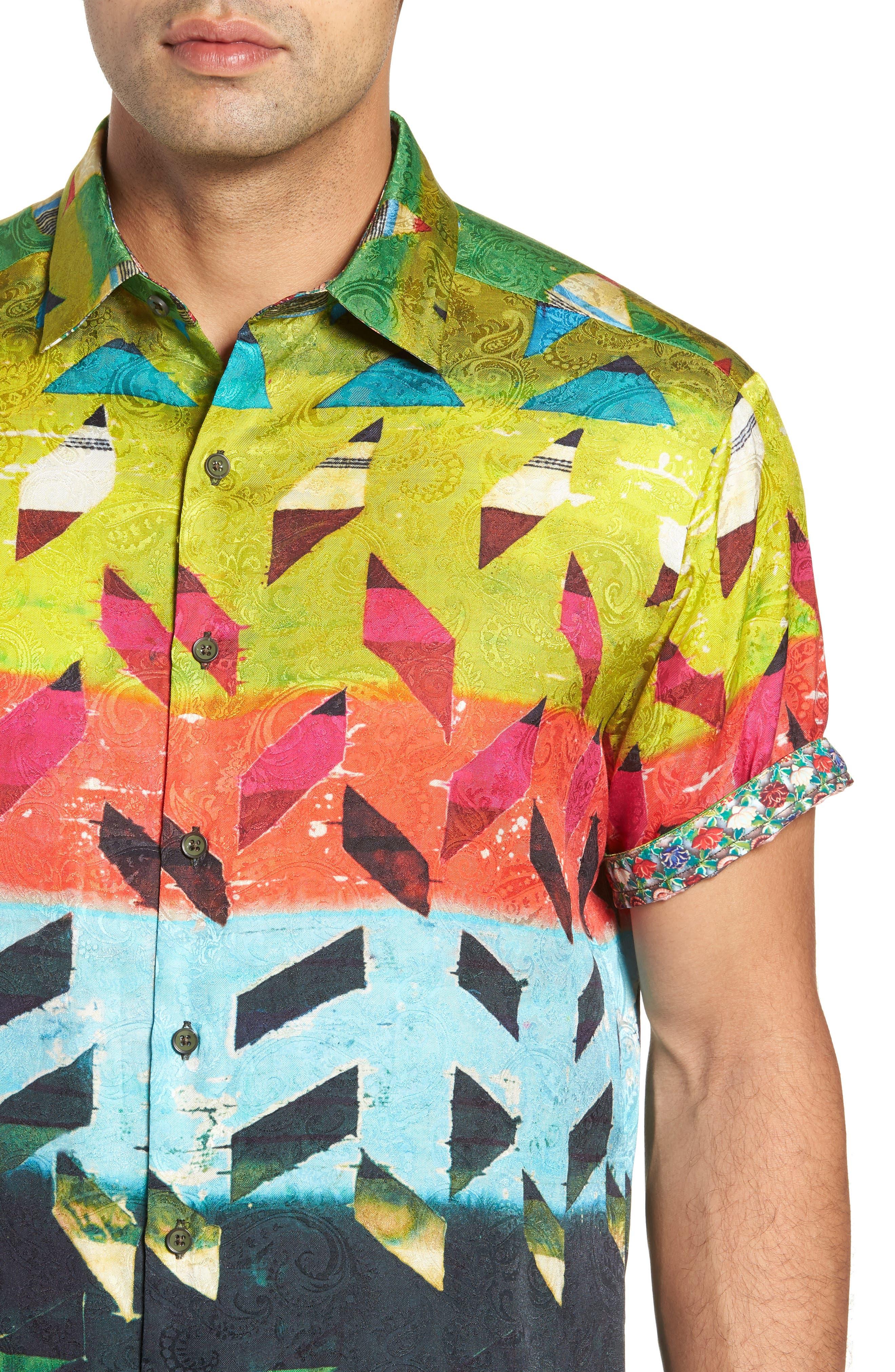 Sharpe Classic Fit Silk Blend Sport Shirt,                             Alternate thumbnail 2, color,                             MULTI