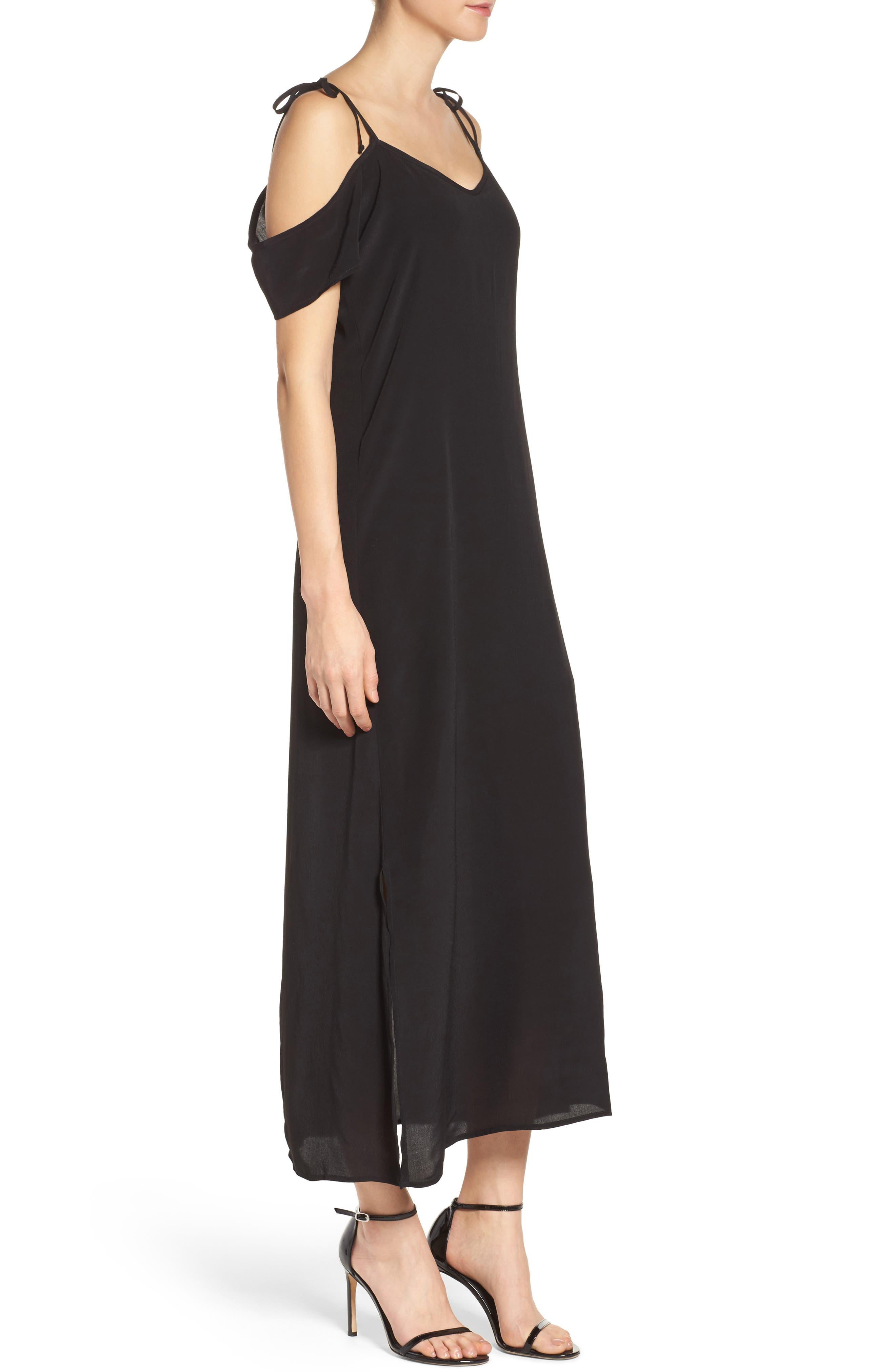 Tie Cold Shoulder Midi Dress,                             Alternate thumbnail 3, color,                             001