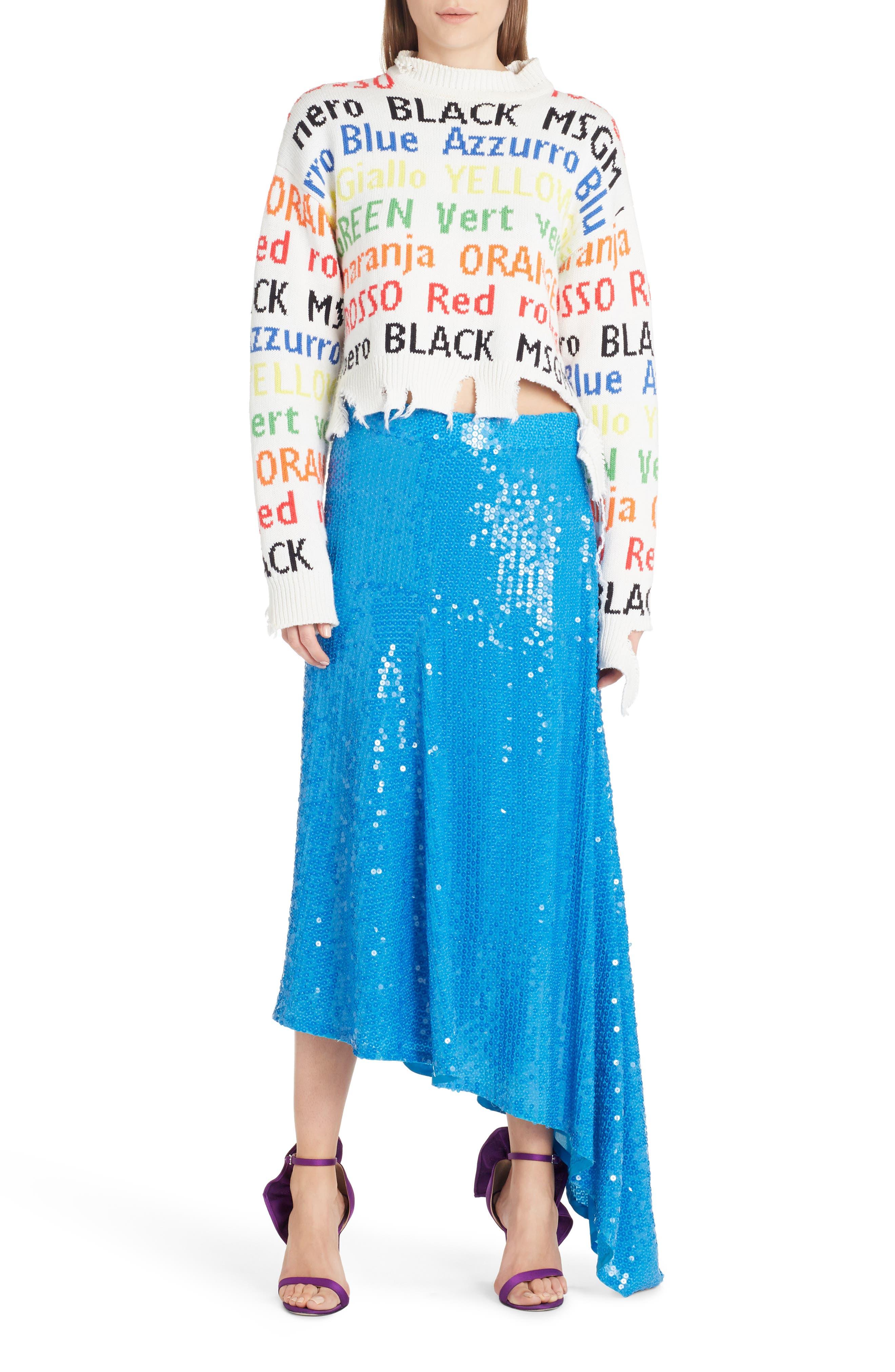 Asymmetrical Sequin Skirt,                             Alternate thumbnail 6, color,                             488