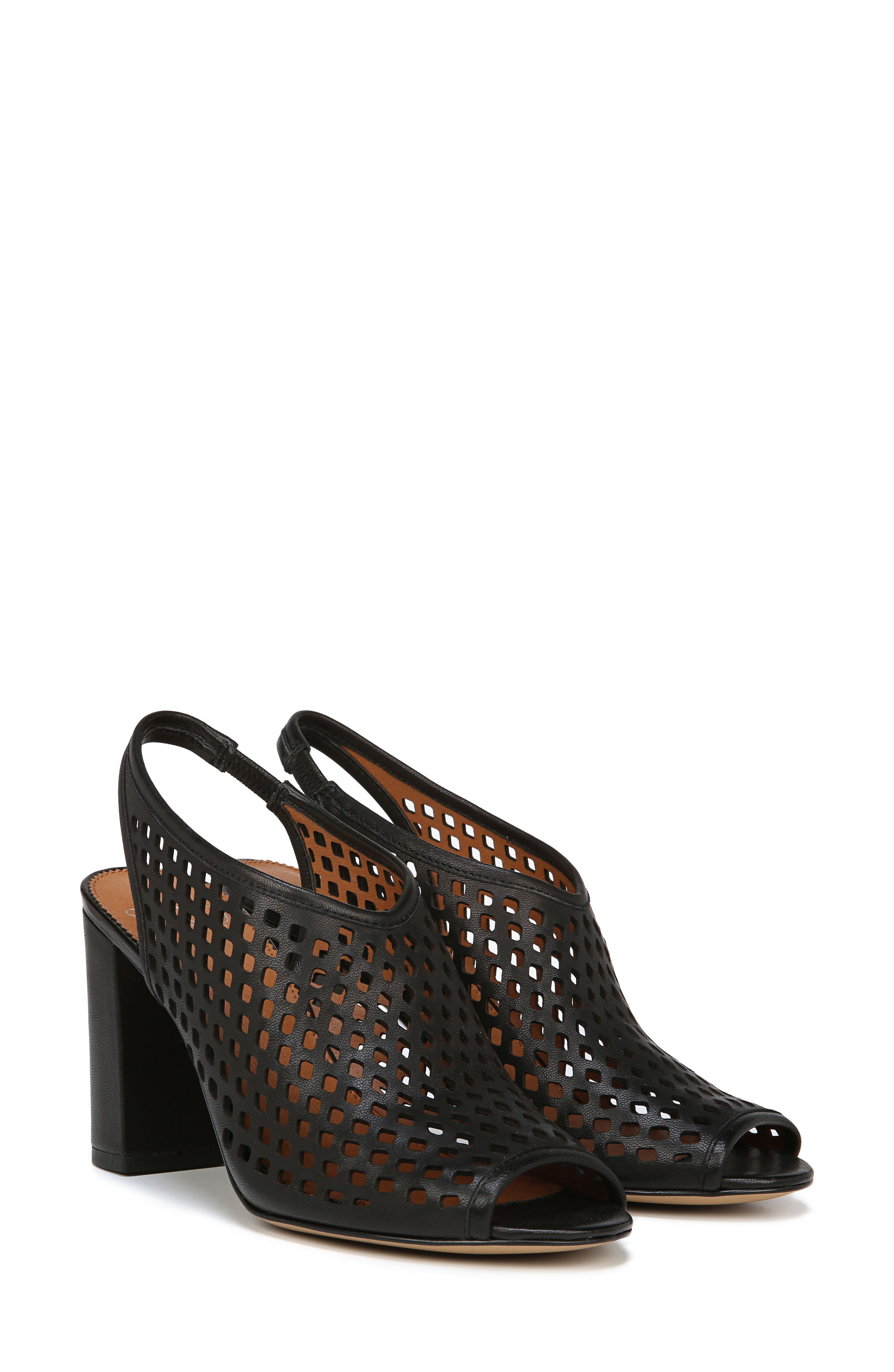 Osbourne Perforated Slingback Sandal,                             Alternate thumbnail 8, color,                             BLACK LEATHER
