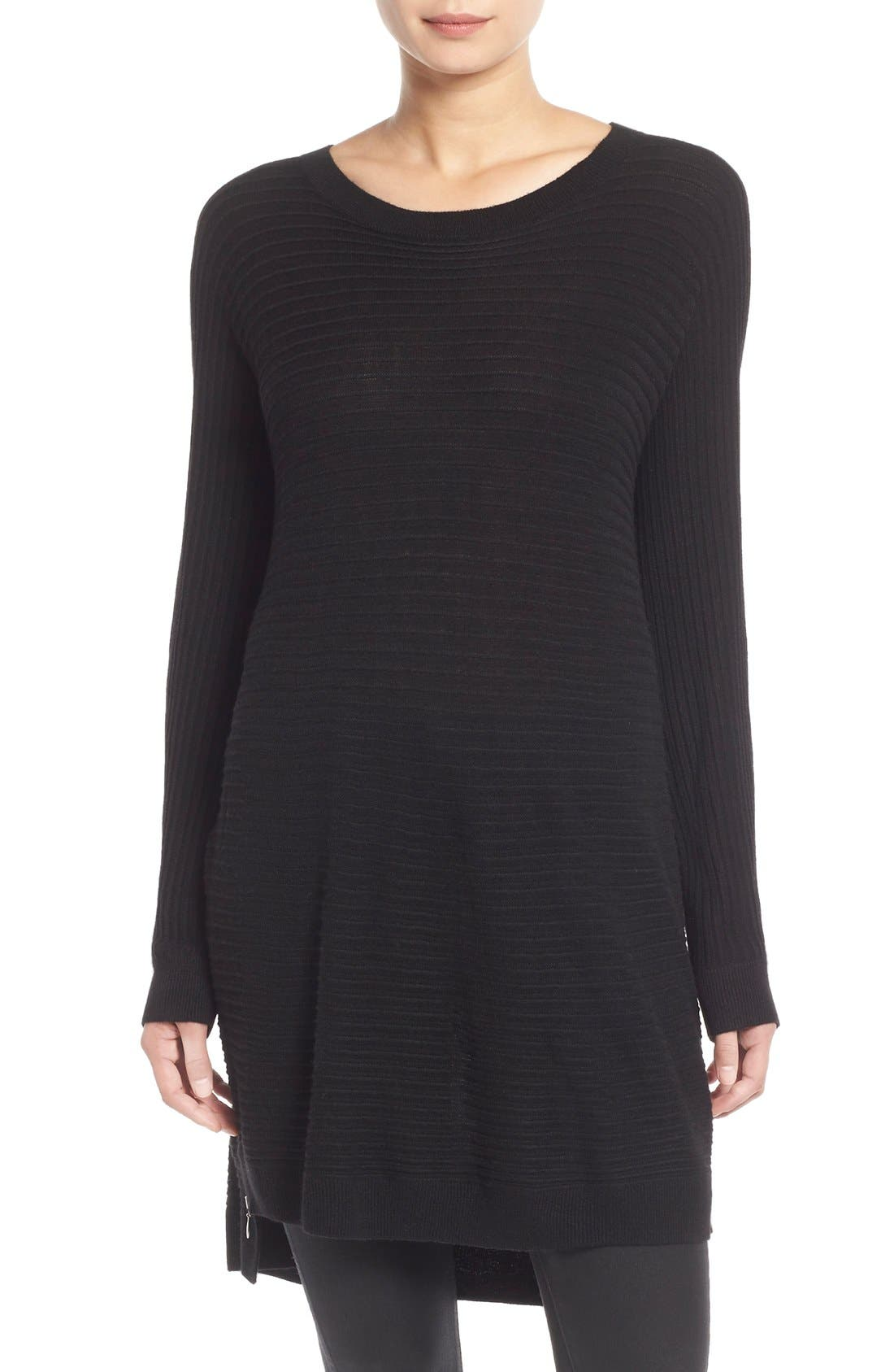 Side Zip Tunic Sweater,                         Main,                         color, 001