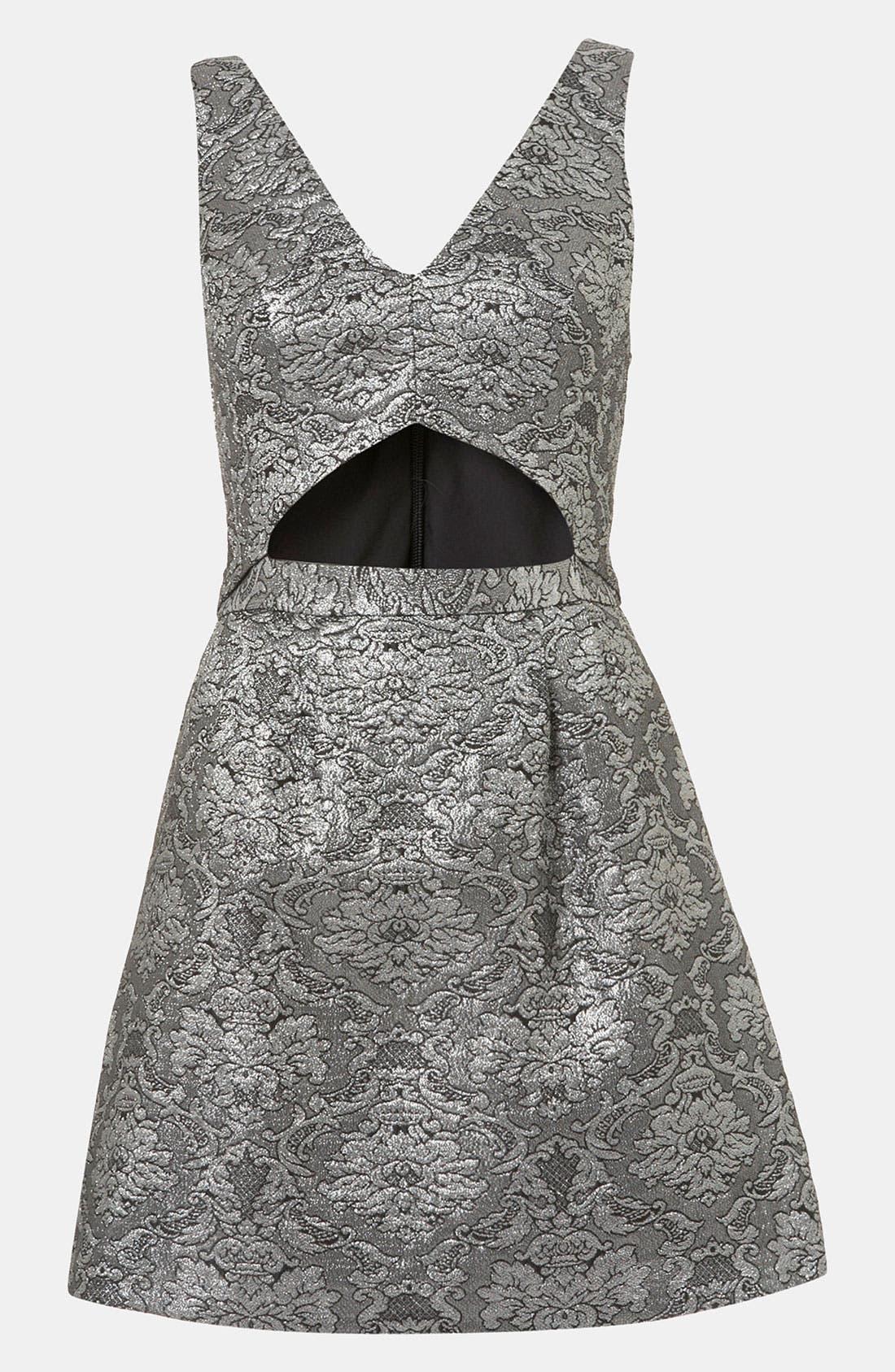 Brocade Cutout Dress,                             Main thumbnail 1, color,