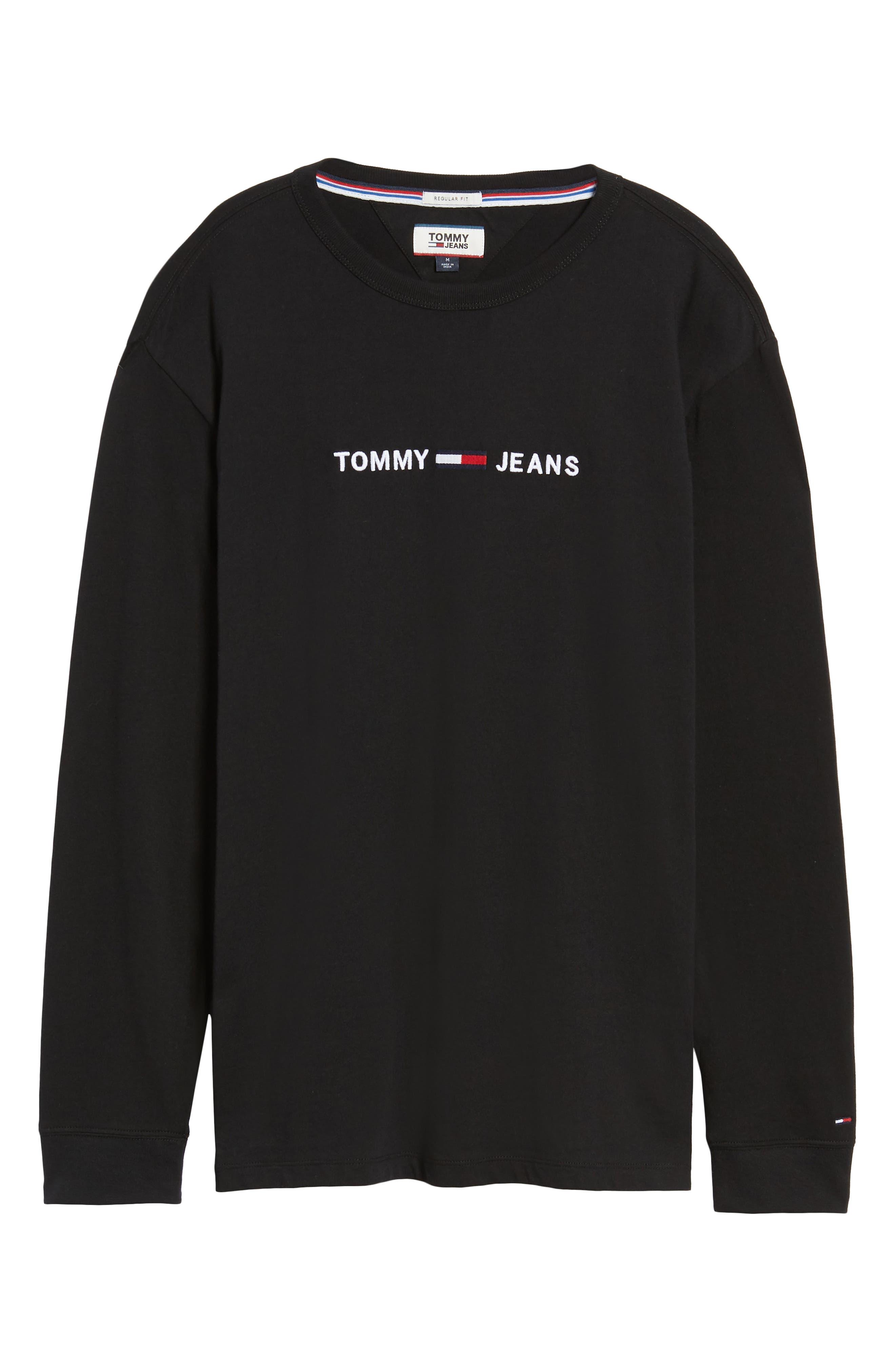 TJM Logo Graphic Long Sleeve T-Shirt,                             Alternate thumbnail 6, color,                             TOMMY BLACK