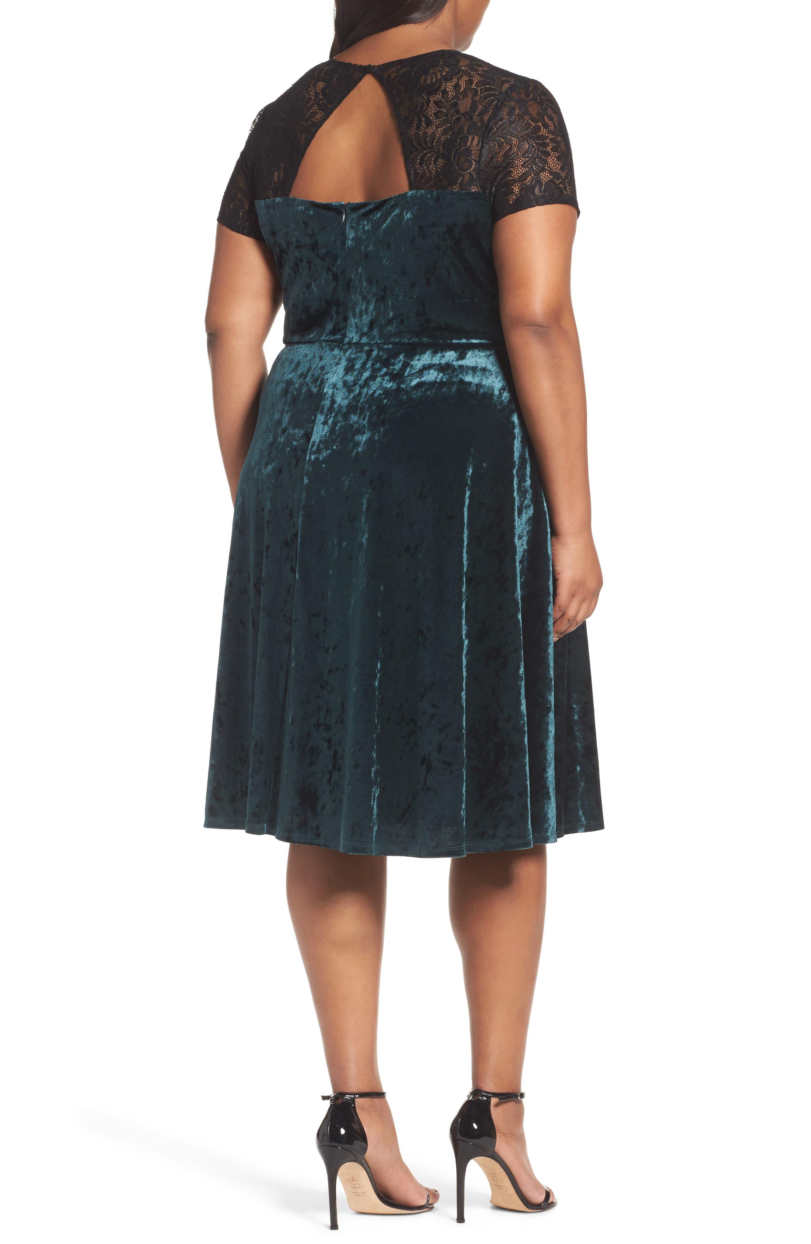Lace Yoke Velvet Fit & Flare Dress,                             Alternate thumbnail 2, color,                             256