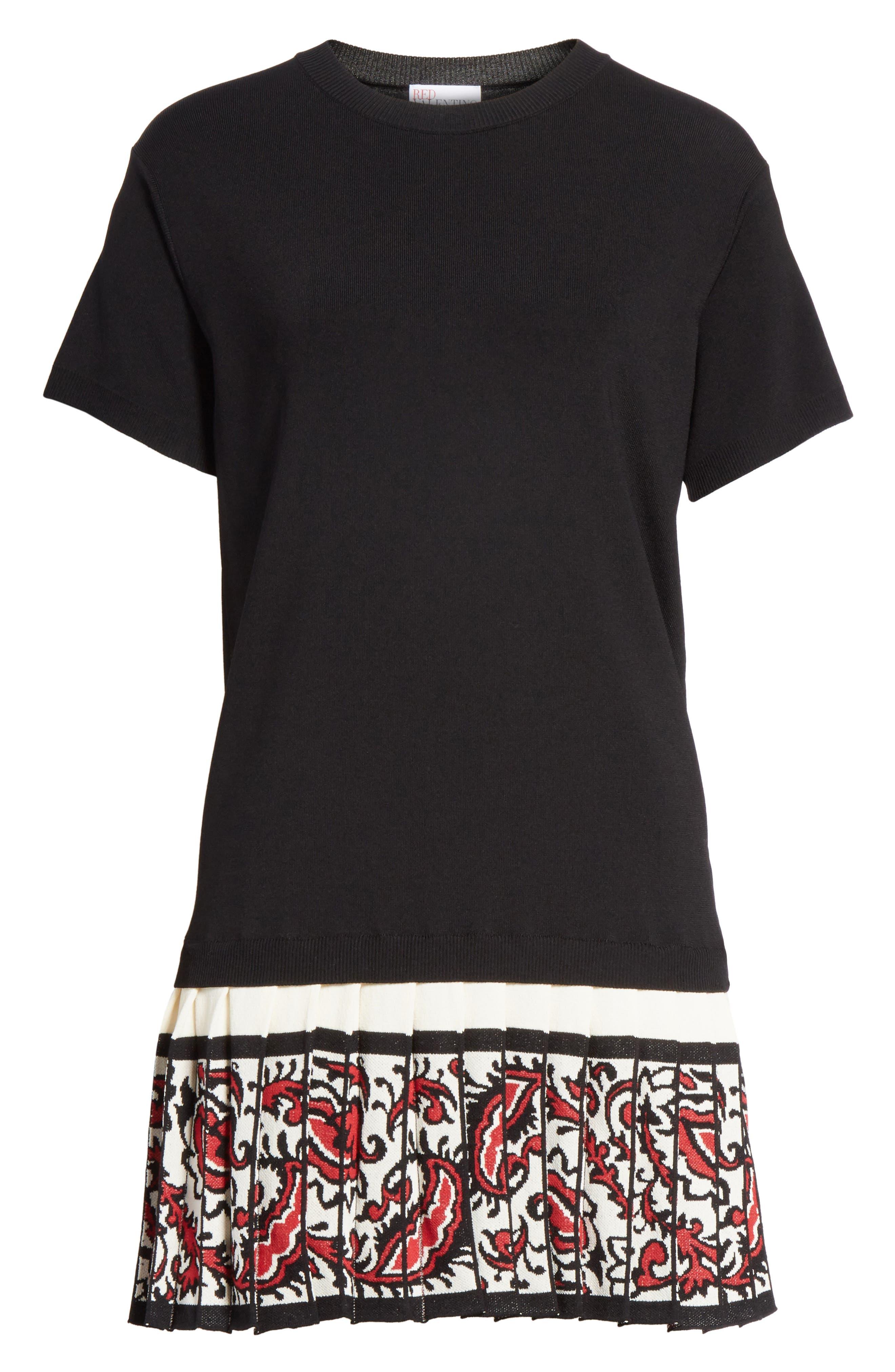 Pleated Hem T-Shirt Dress,                             Alternate thumbnail 6, color,                             001
