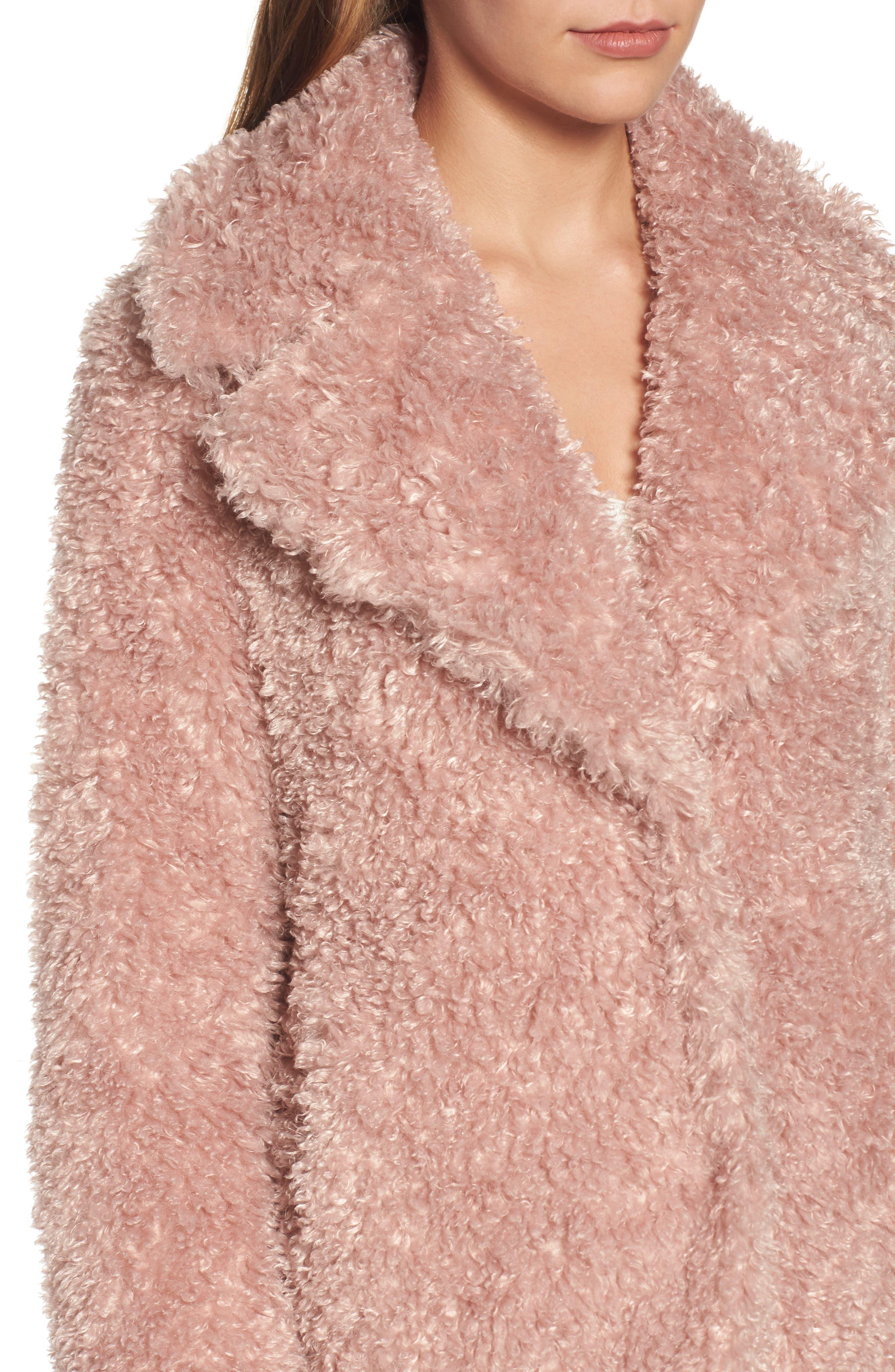'Teddy Bear' Notch Collar Reversible Faux Fur Coat,                             Alternate thumbnail 19, color,