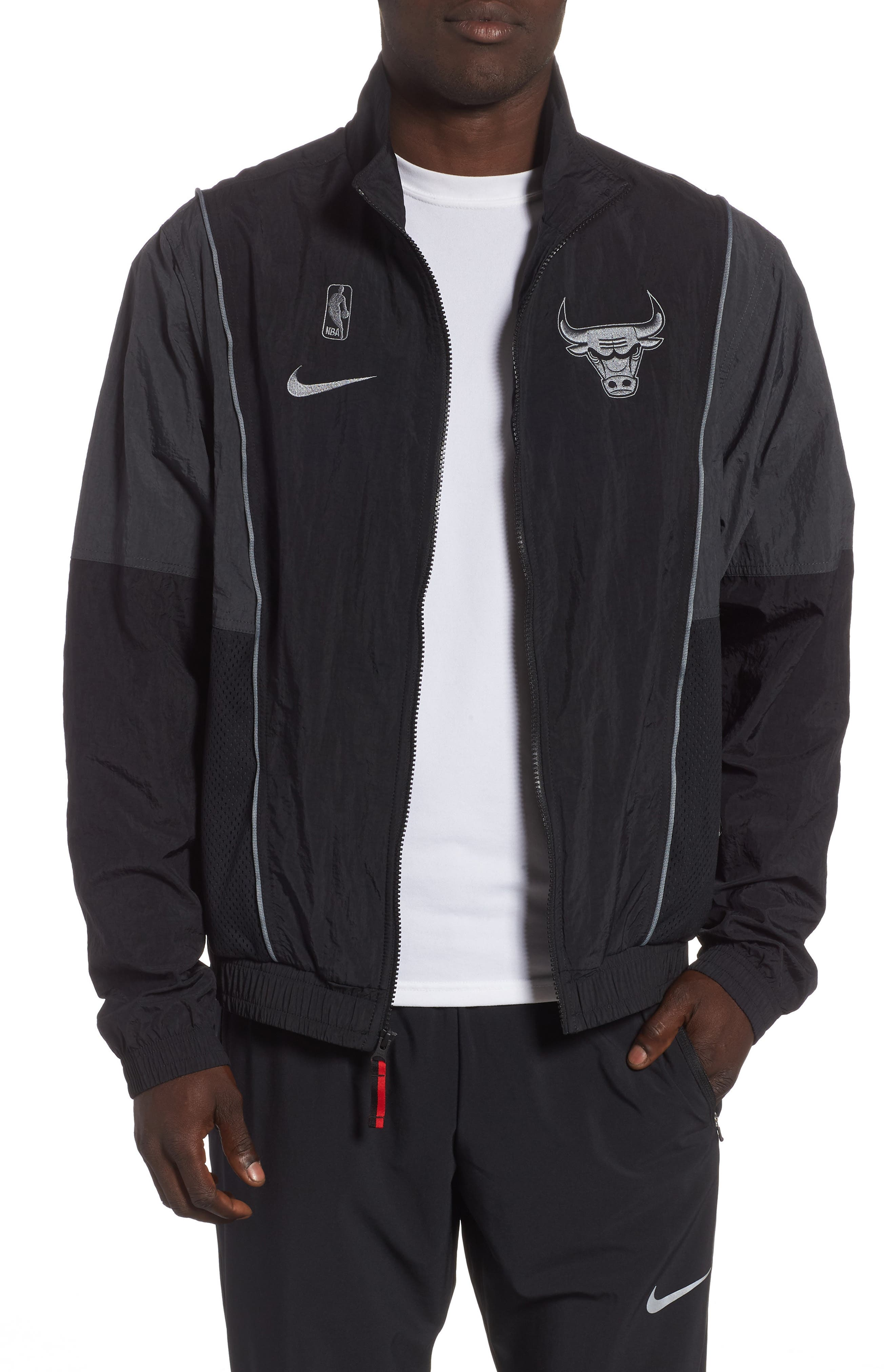 Chicago Bulls Track Jacket,                         Main,                         color, BLACK/ ANTHRACITE/ COOL GREY