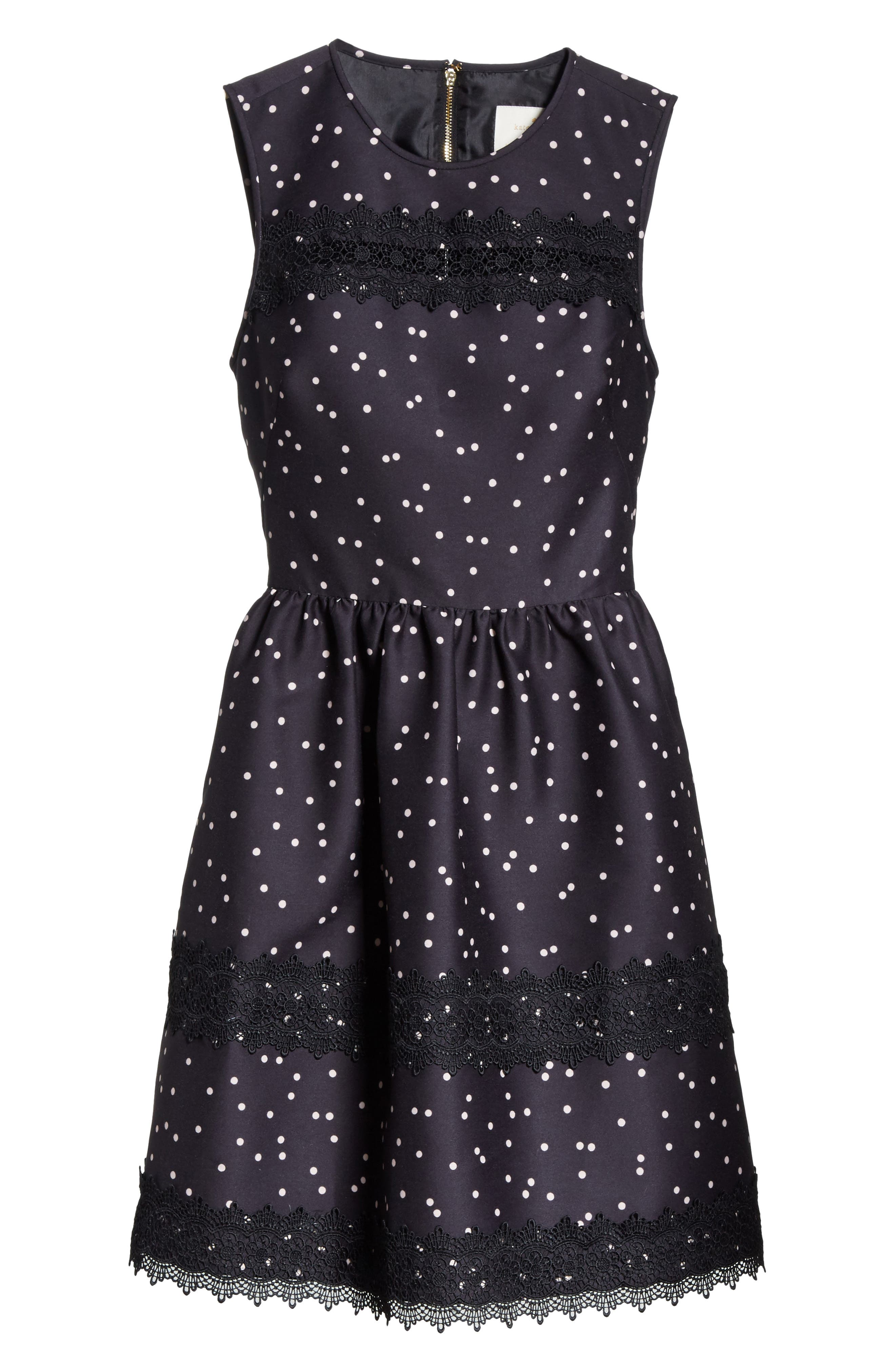 scatter dot mikado fit & flare dress,                             Alternate thumbnail 6, color,