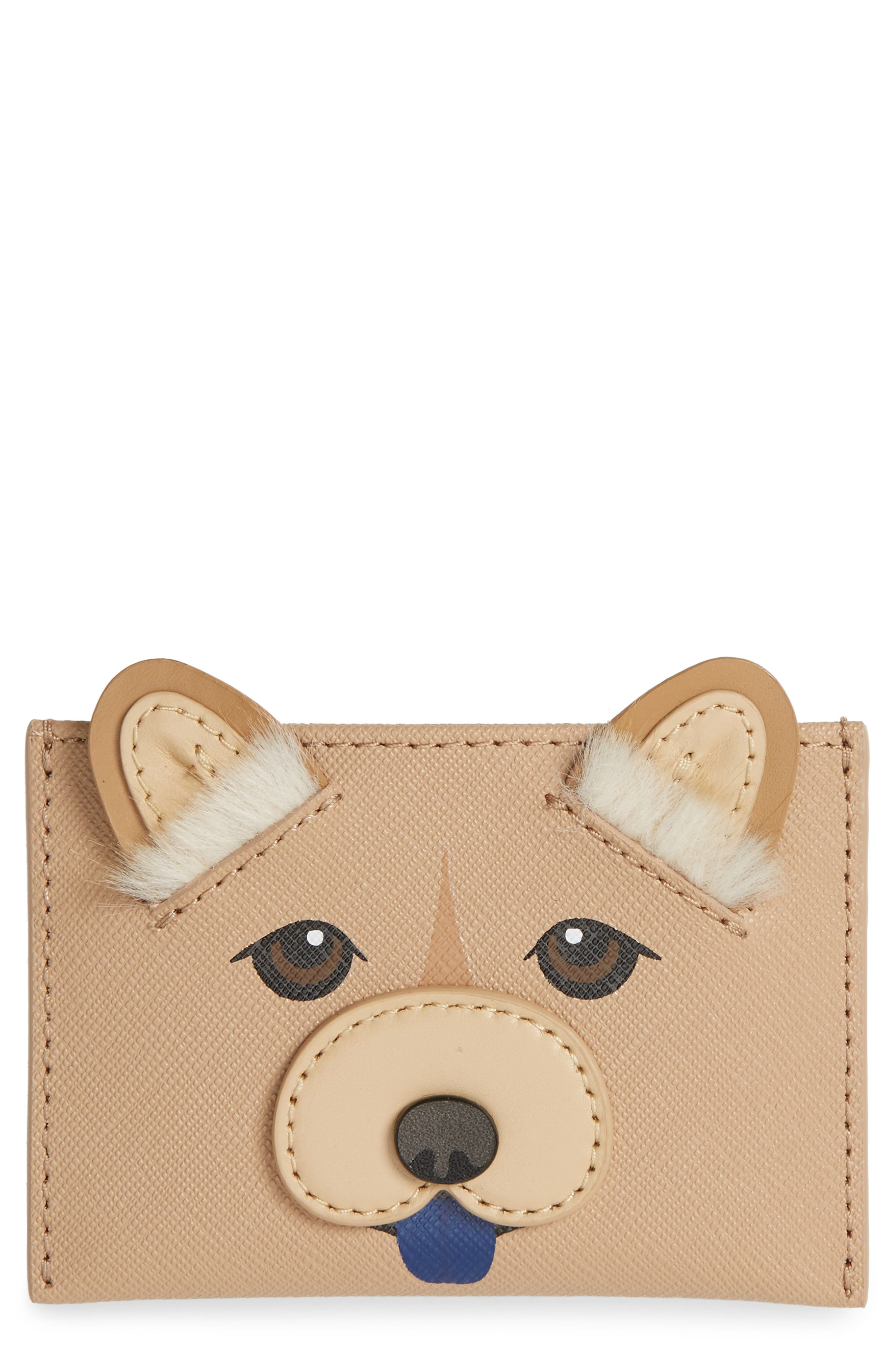 year of the dog card case with faux fur,                         Main,                         color, 250