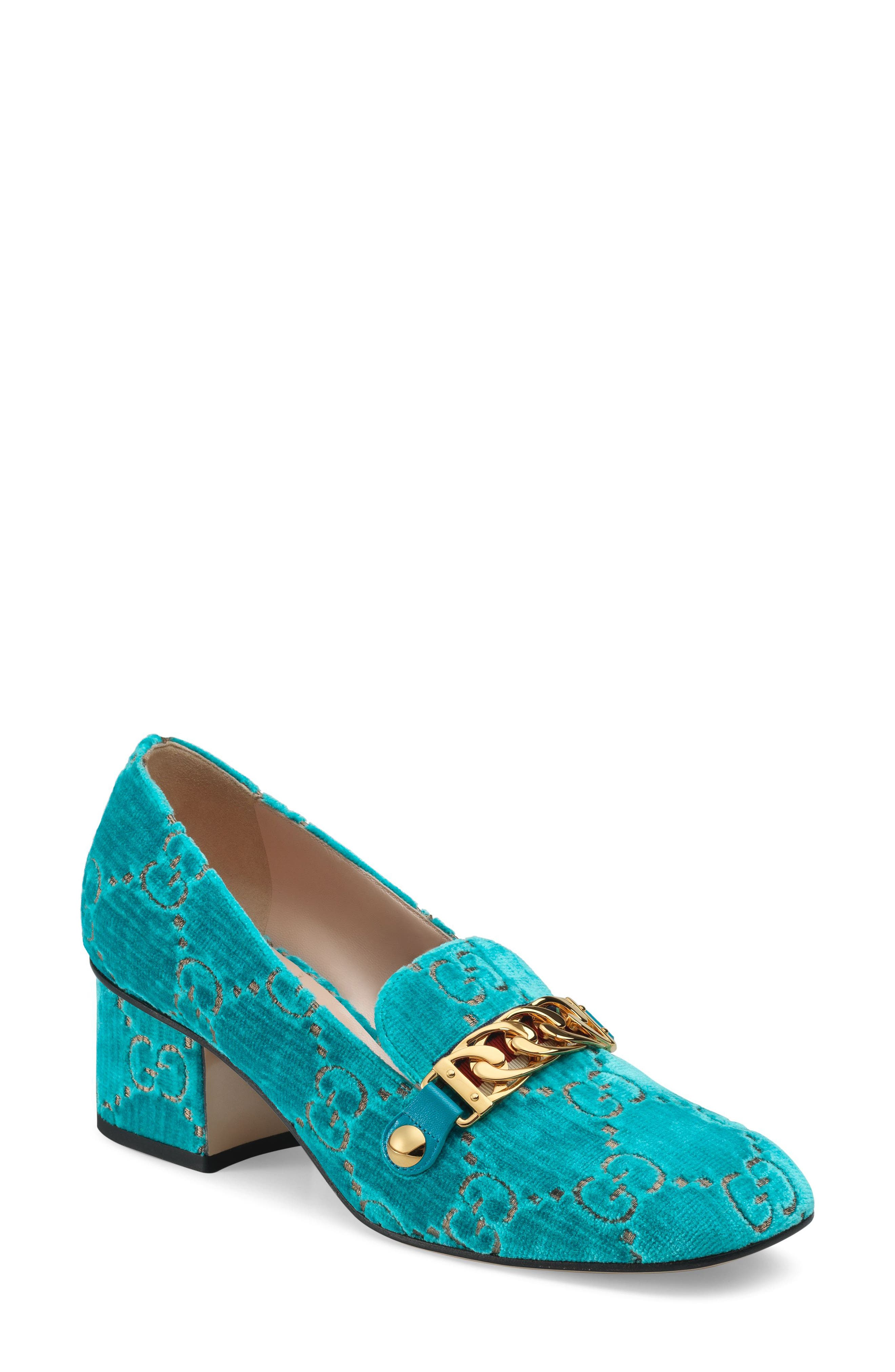 GUCCI,                             Sylvie Loafer Pump,                             Main thumbnail 1, color,                             TURQUOISE