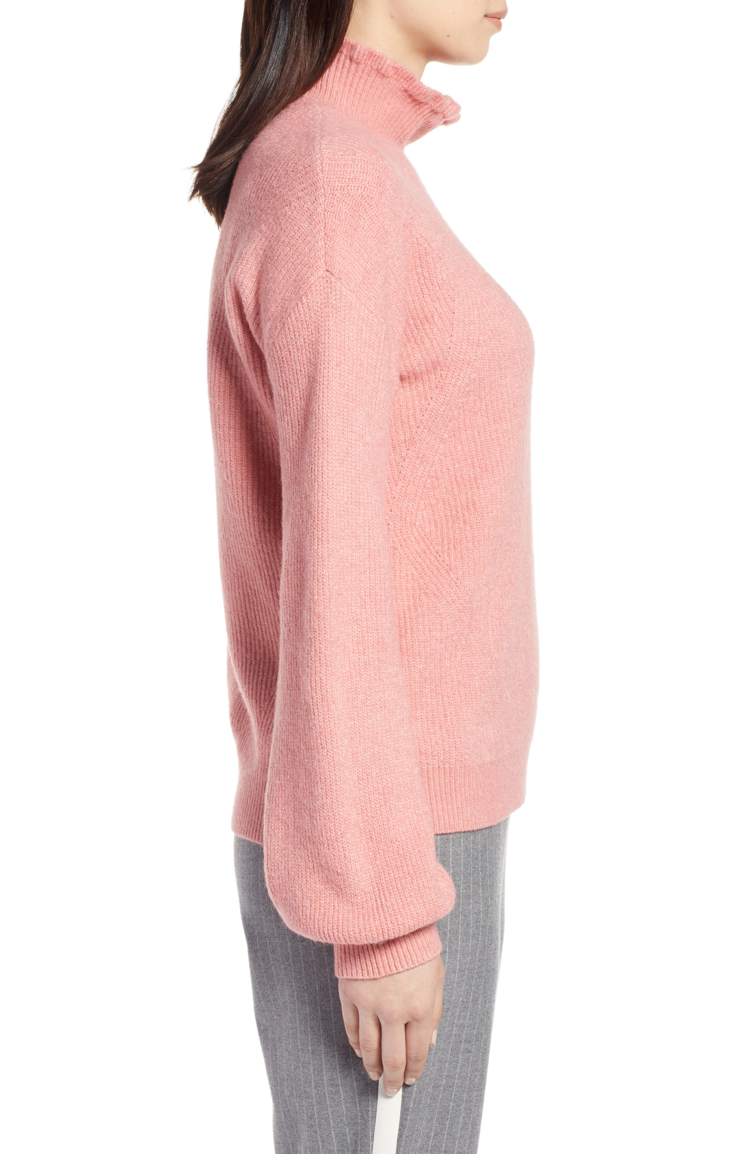 Ruffle Neck Sweater,                             Alternate thumbnail 3, color,                             PINK APRICOT