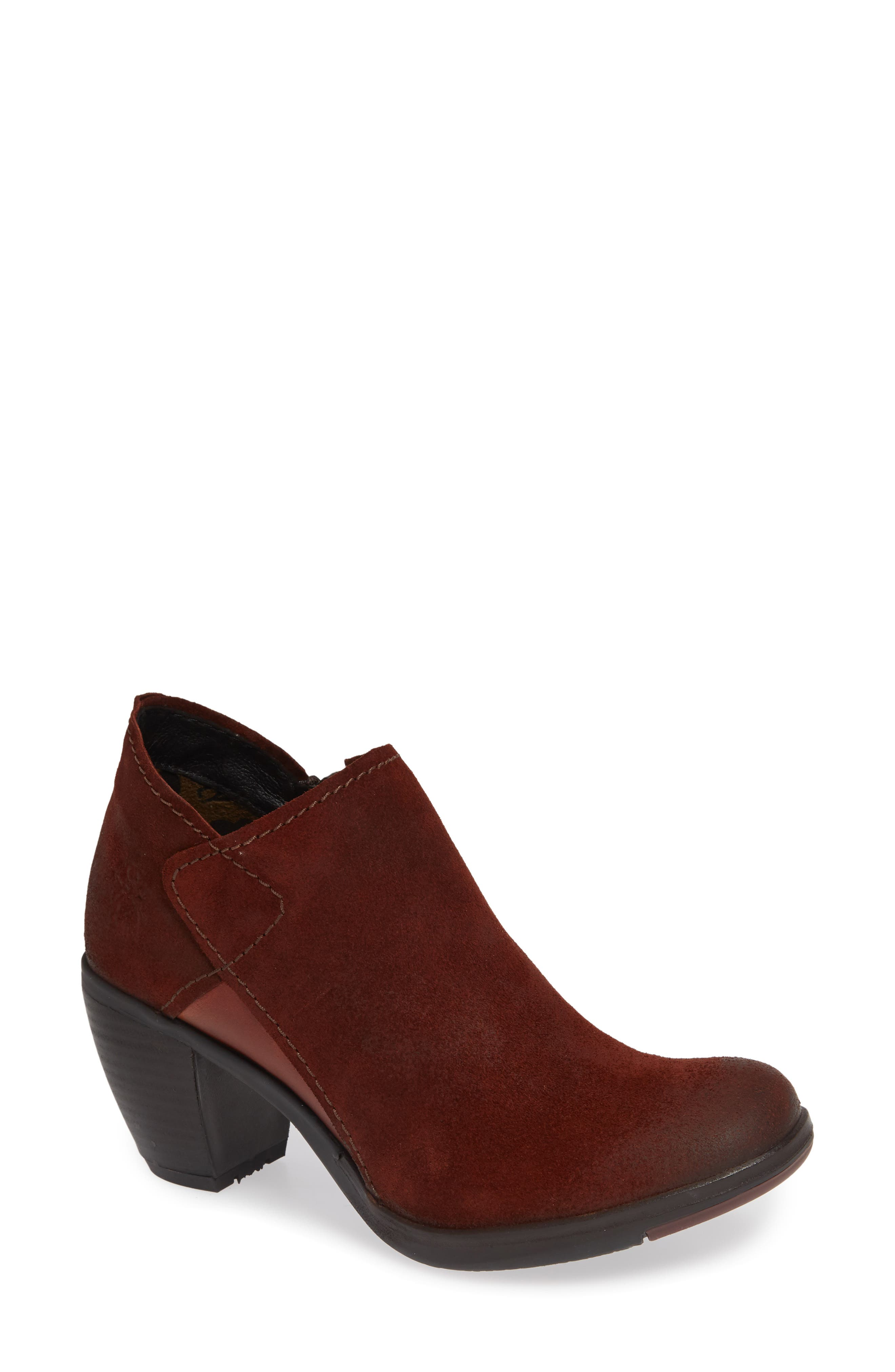 FLY LONDON,                             Hace Bootie,                             Main thumbnail 1, color,                             BRICK OIL SUEDE