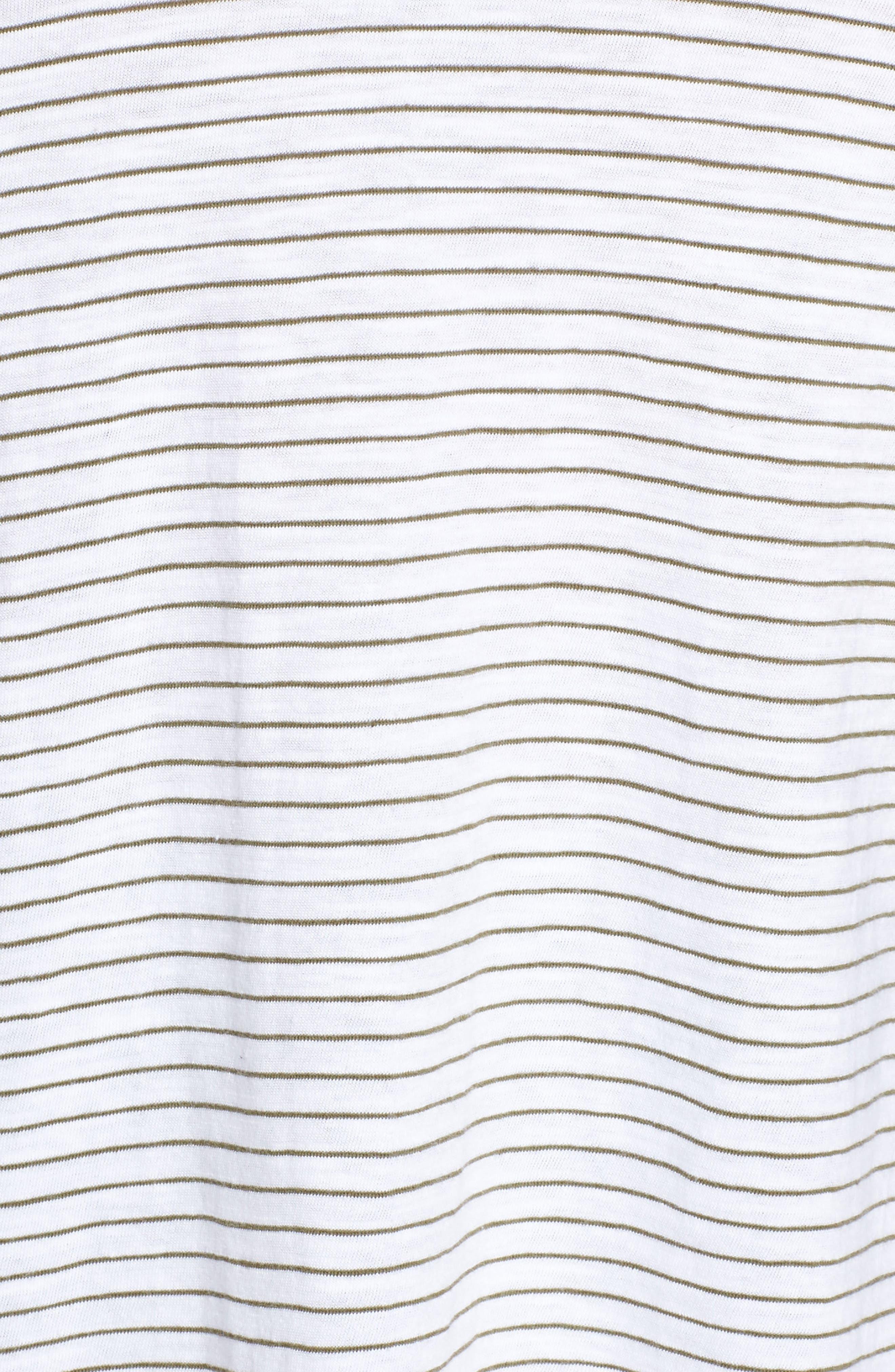 Stripe Organic Cotton V-Neck Tee,                             Alternate thumbnail 5, color,                             WHITE