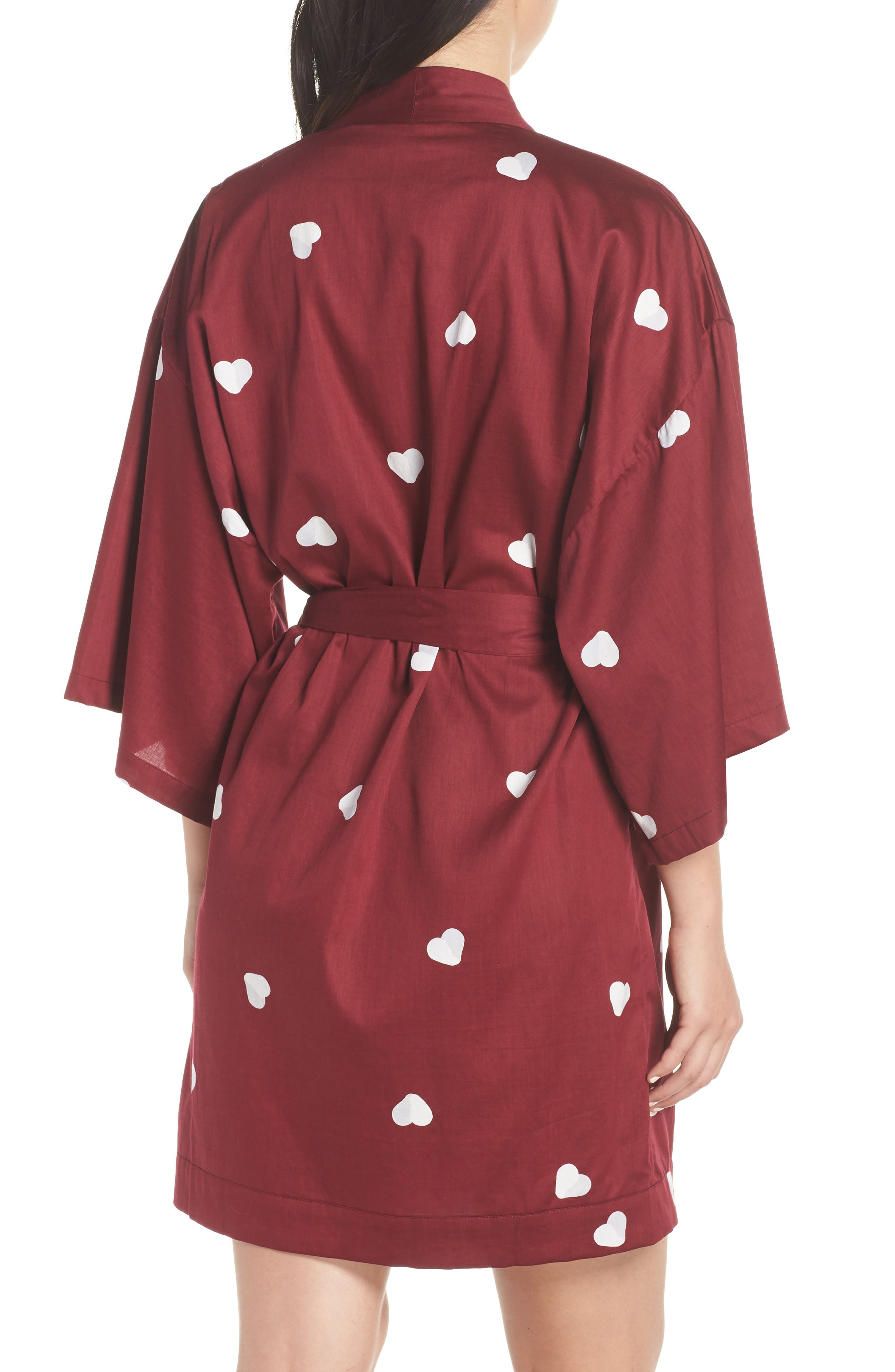 Margaux Short Cotton Robe,                             Alternate thumbnail 2, color,                             LONELY HEARTS MAROON