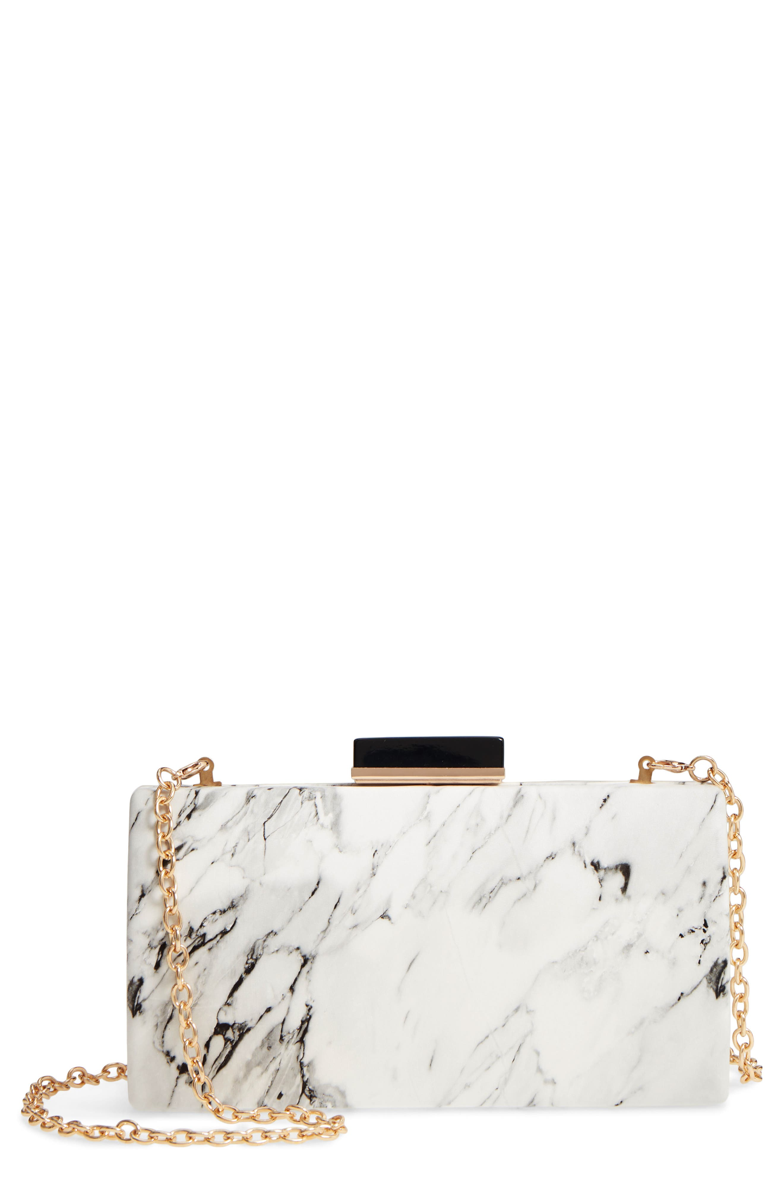 Marble Print Faux Leather Box Clutch,                             Main thumbnail 1, color,                             WHITE
