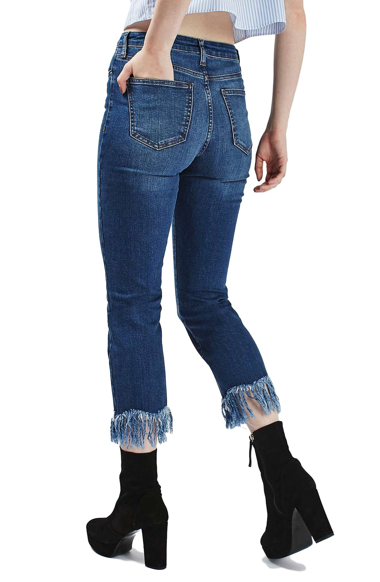 Dree Fringe Crop Jeans,                             Alternate thumbnail 2, color,                             401