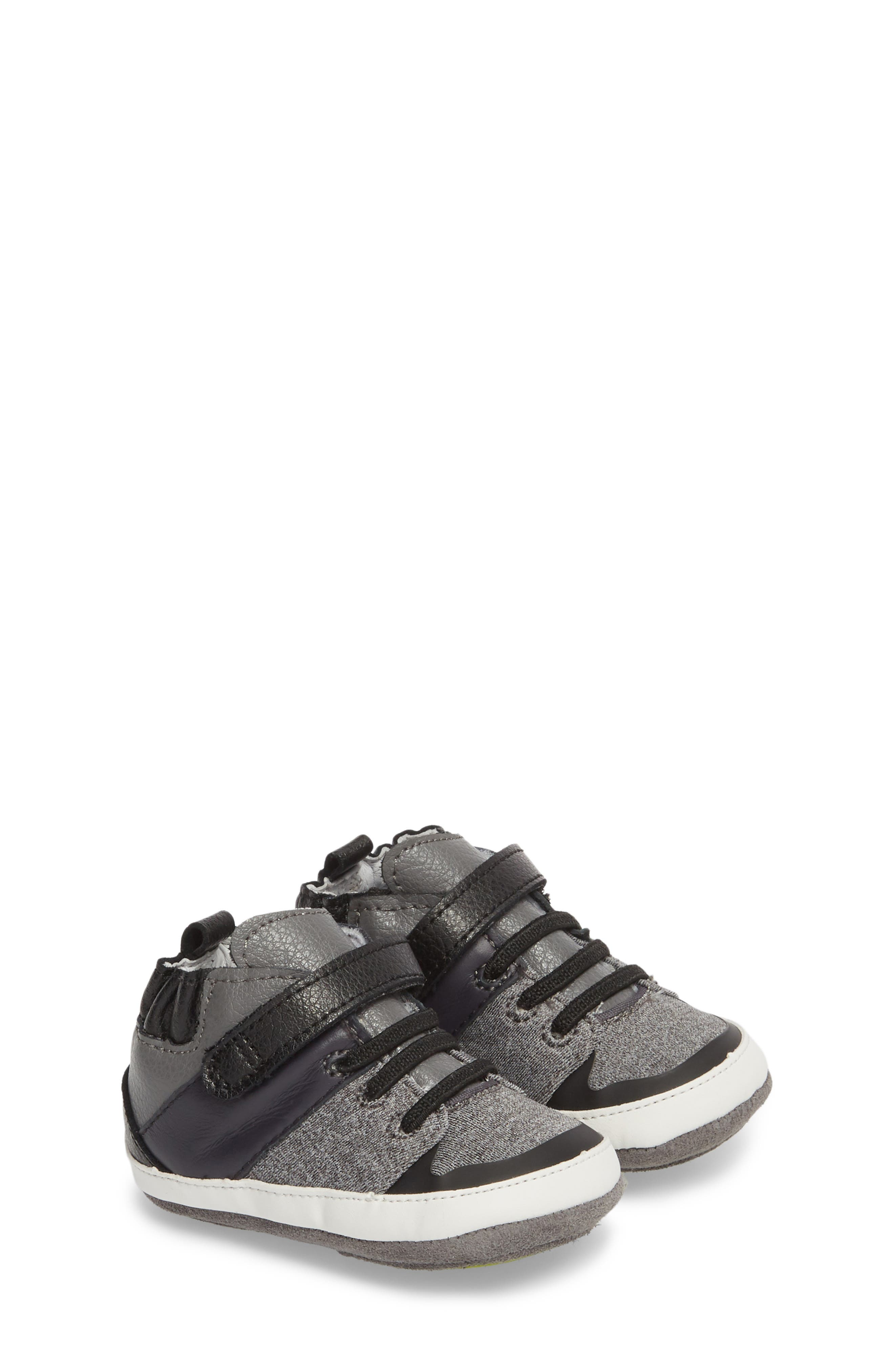 Zachary High Top Crib Sneaker,                             Main thumbnail 1, color,                             BLACK