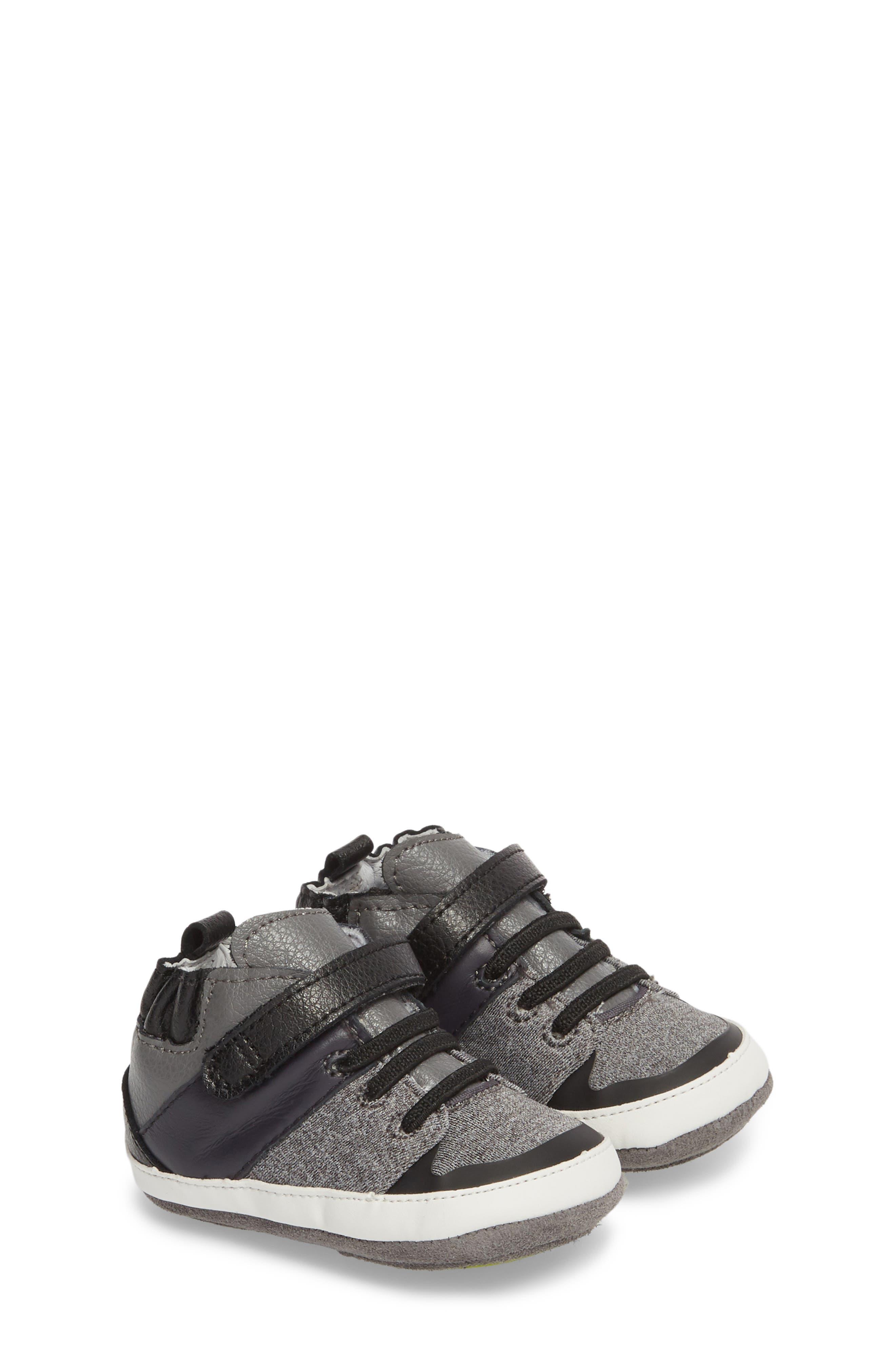 Zachary High Top Crib Sneaker,                         Main,                         color, BLACK