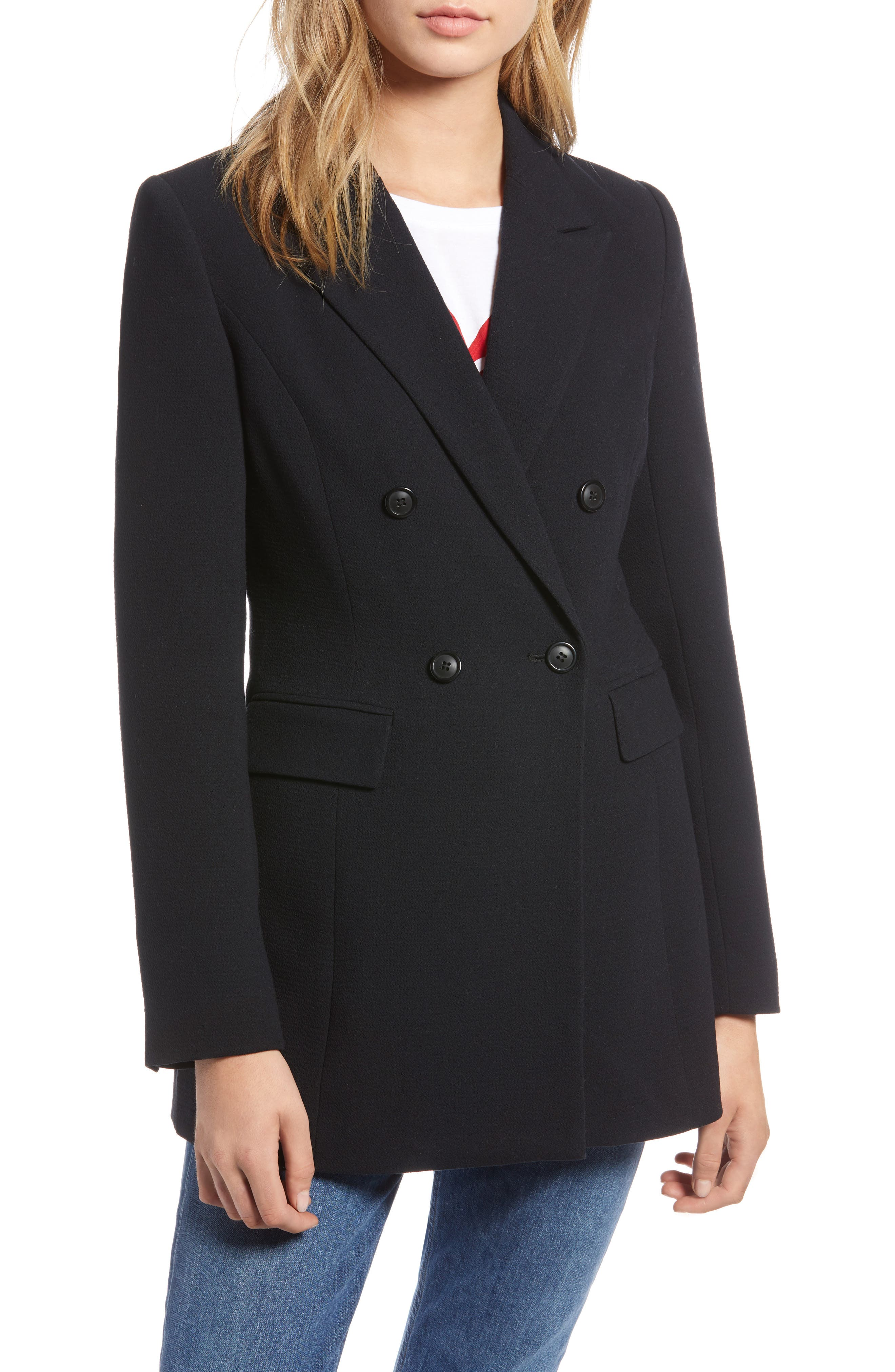 Double Breasted Crepe Blazer,                             Alternate thumbnail 4, color,                             001