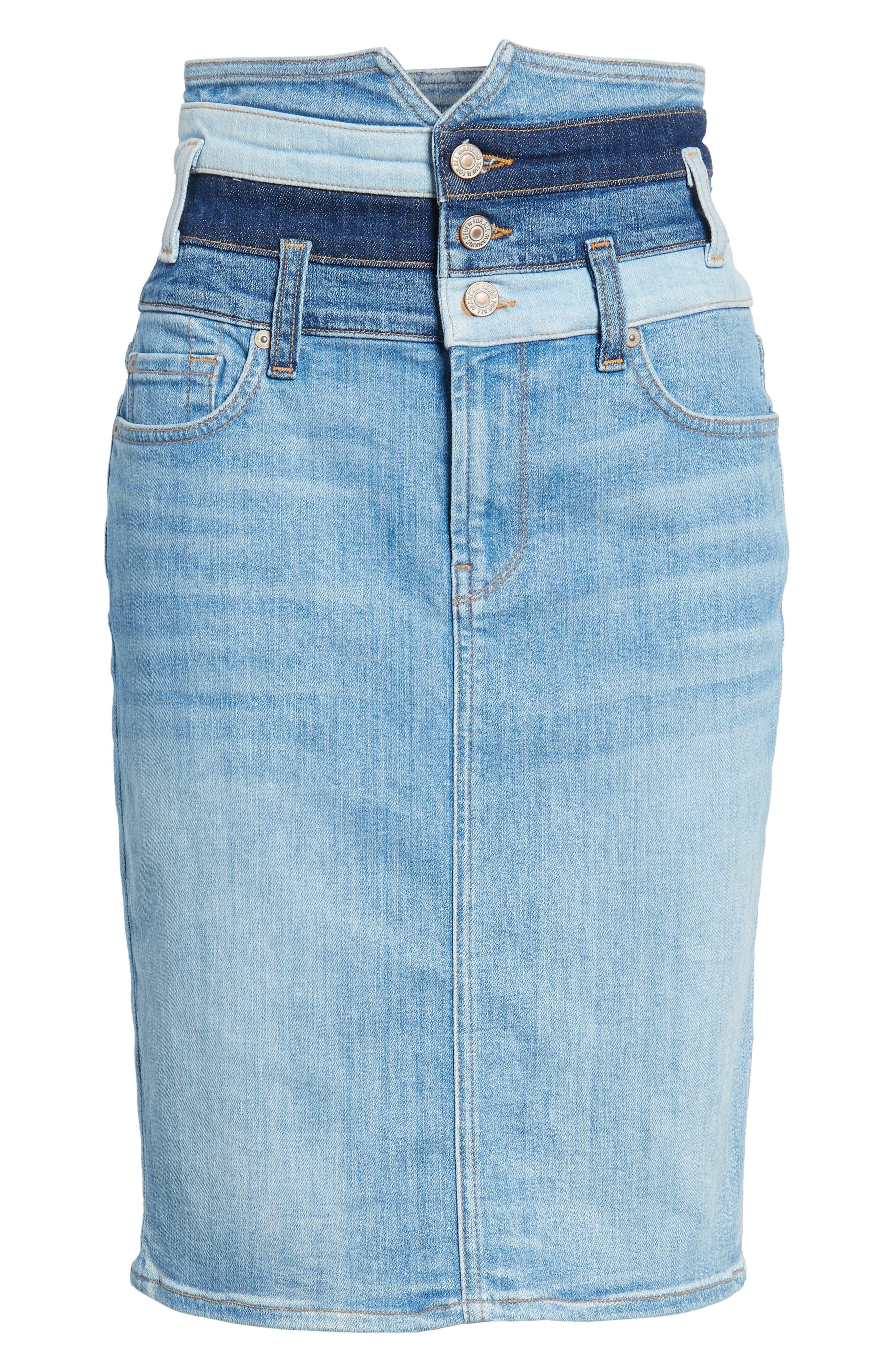 Patchwork Denim Skirt,                             Alternate thumbnail 6, color,