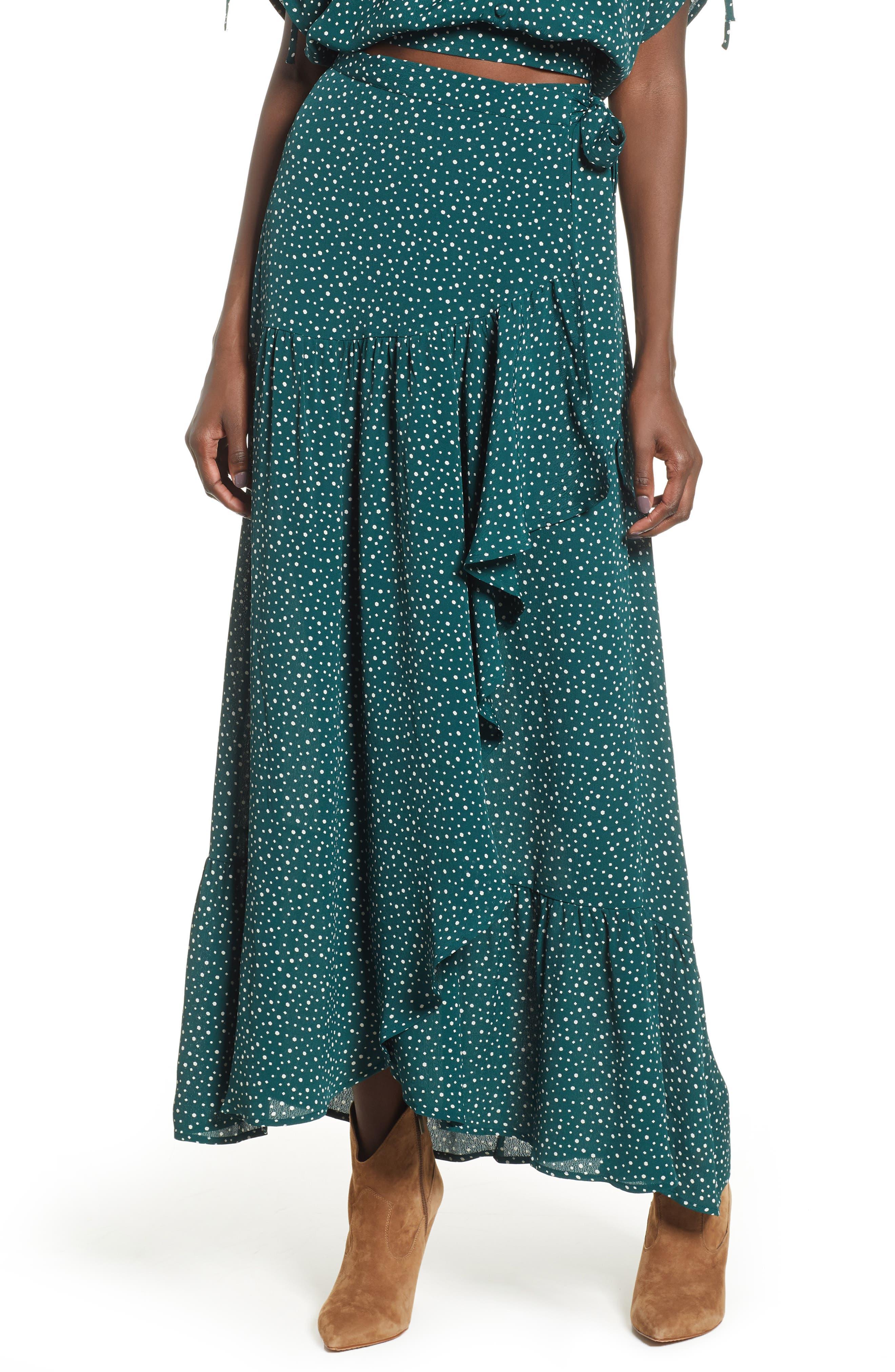 BAND OF GYPSIES Dane Ruffled Polka Dot Wrap Skirt in Pine/ Ivory