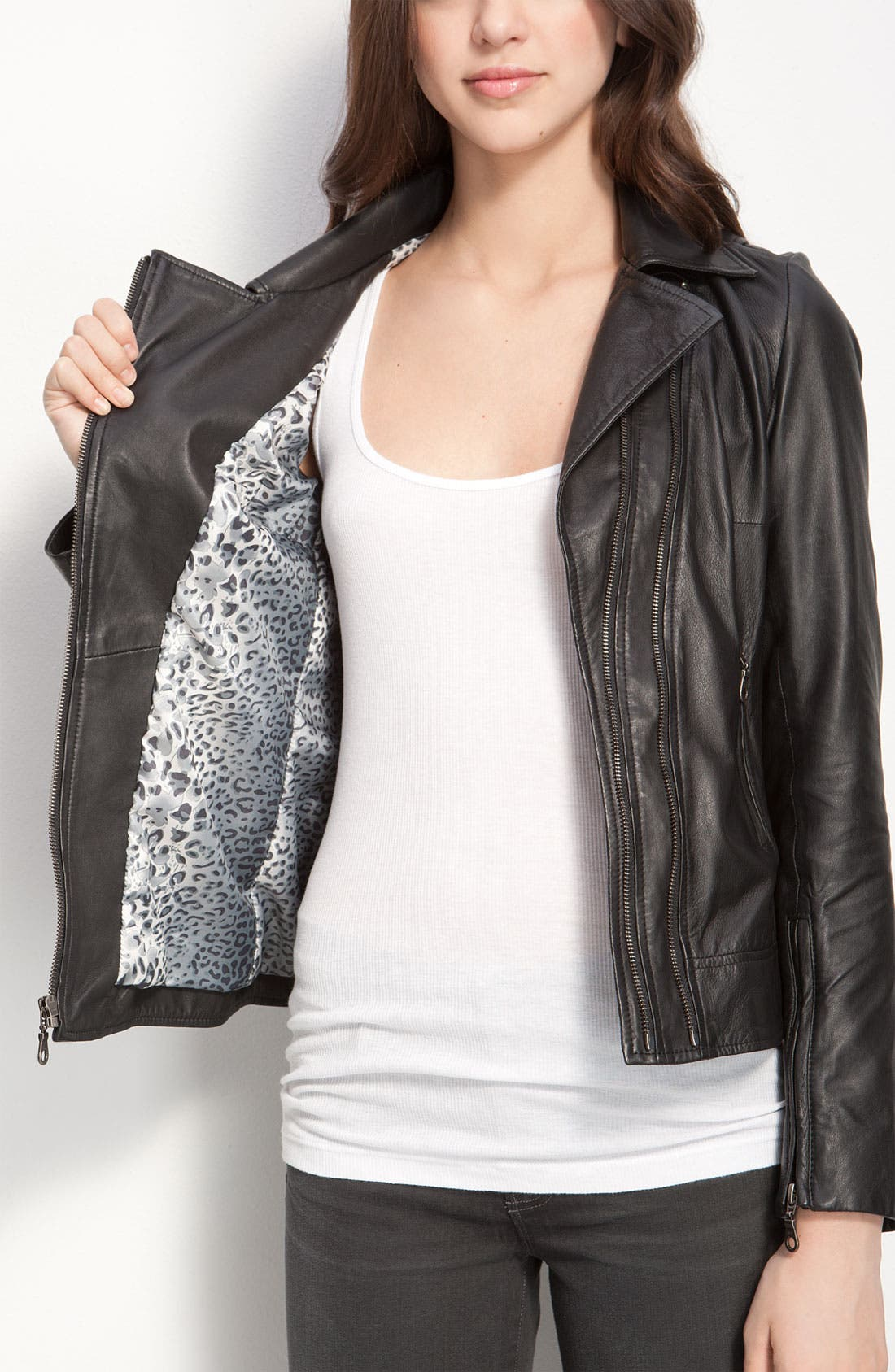 Kenna-T Classic Leather Moto Jacket,                             Alternate thumbnail 2, color,                             001