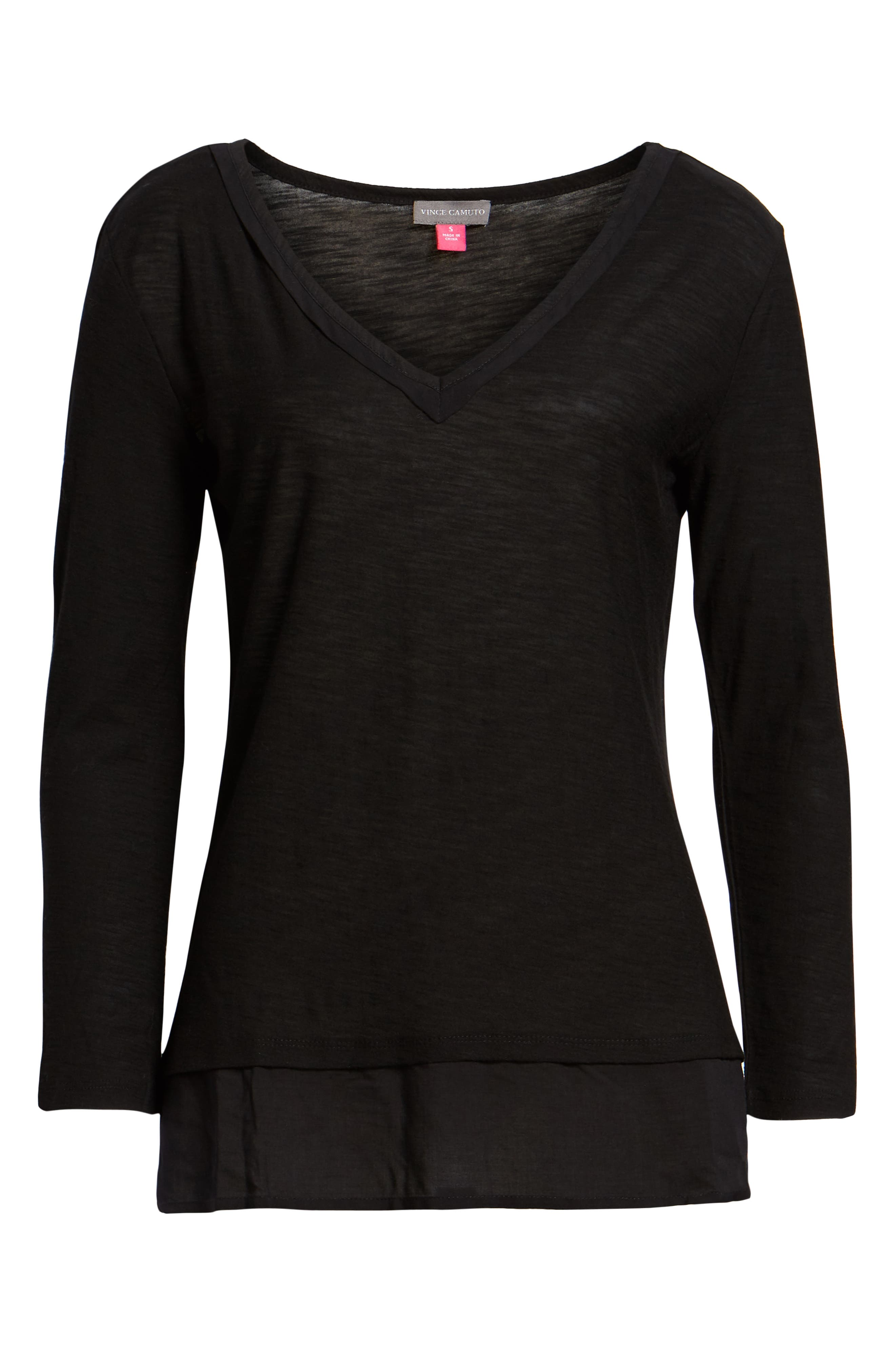 Layered Look Top,                             Alternate thumbnail 3, color,                             RICH BLACK