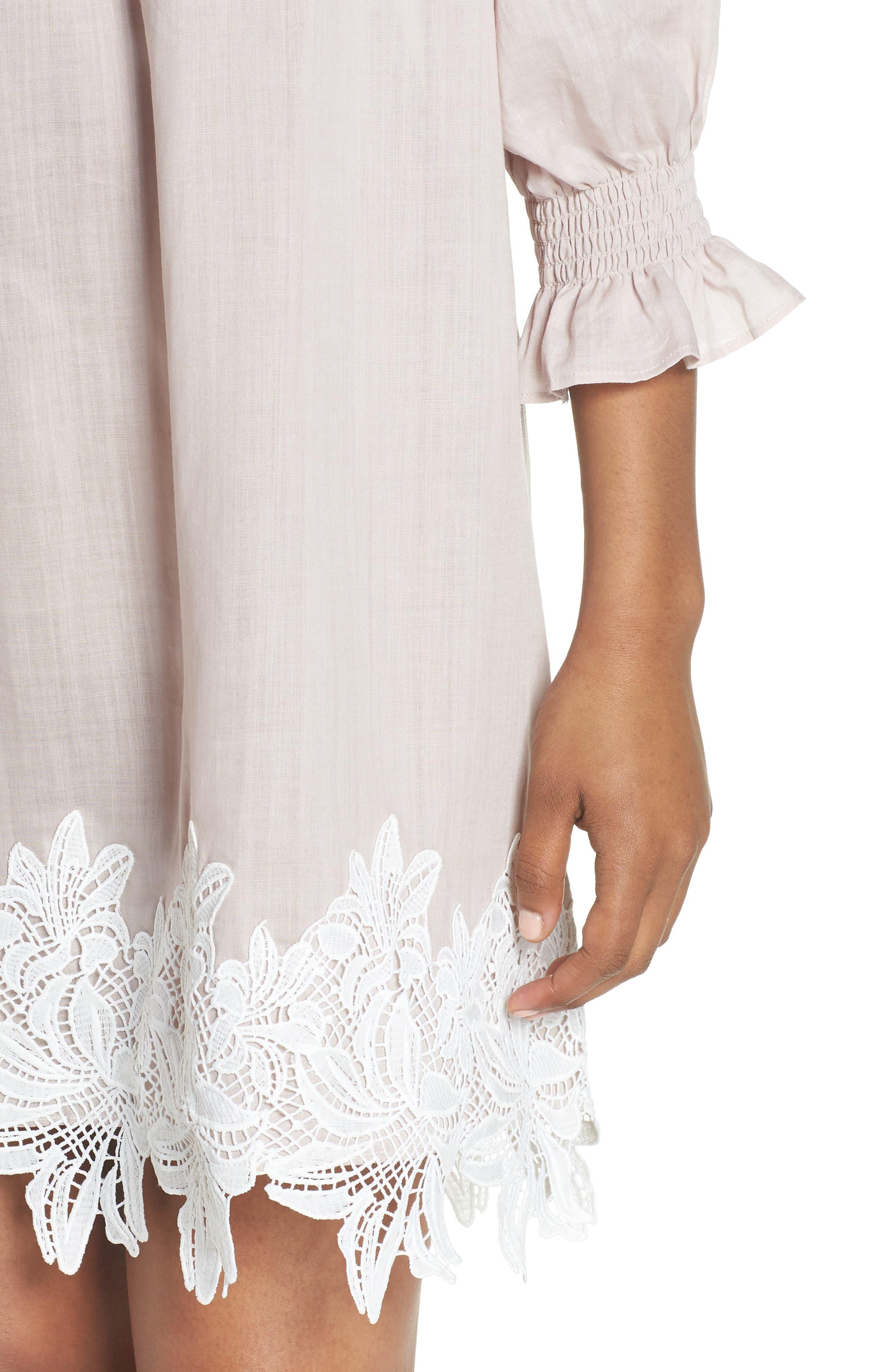 Hudson Off the Shoulder Lace Hem Linen Dress,                             Alternate thumbnail 4, color,                             650