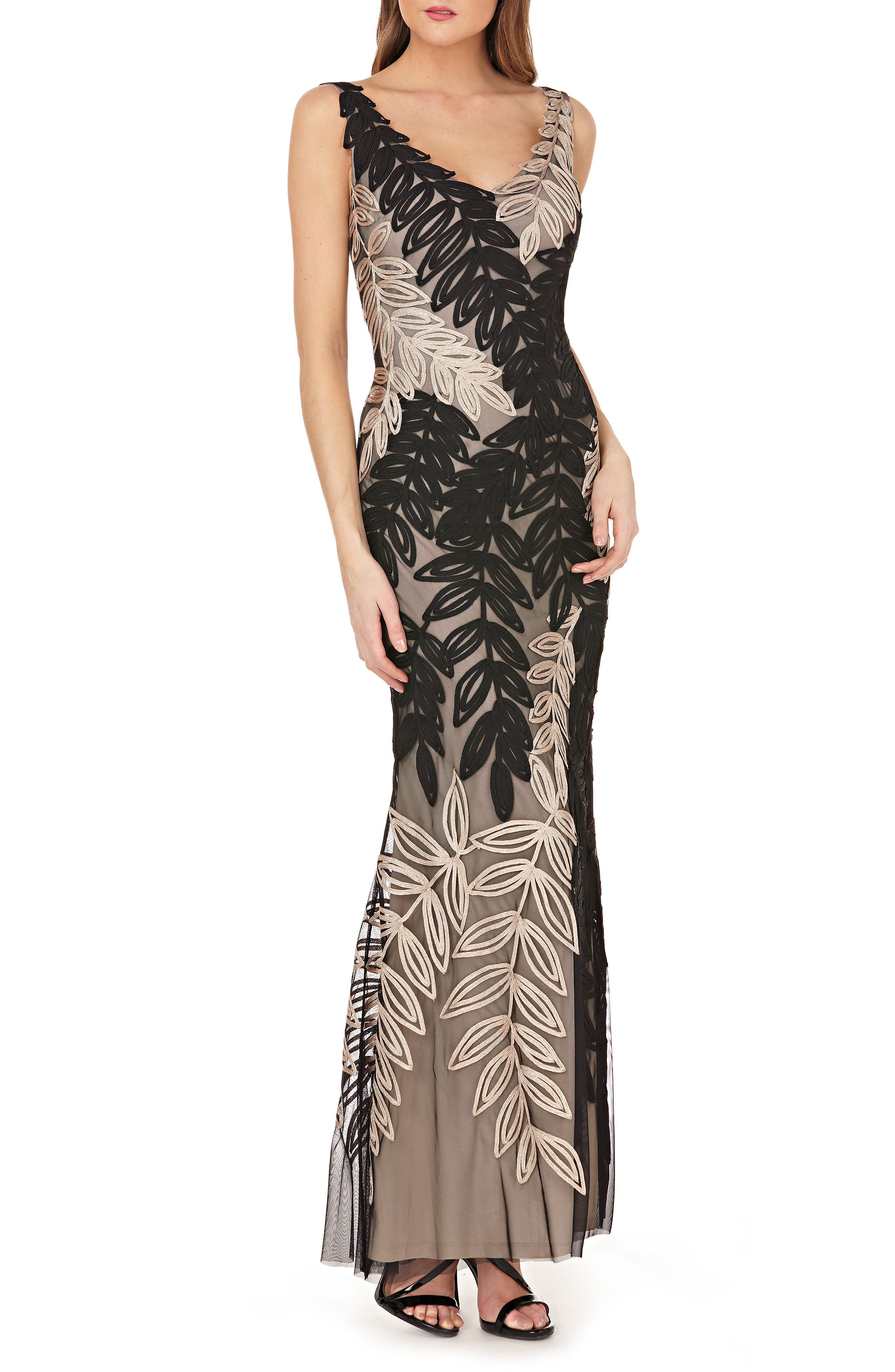 Leaf Soutache Trumpet Gown,                         Main,                         color, BLACK/ GOLD