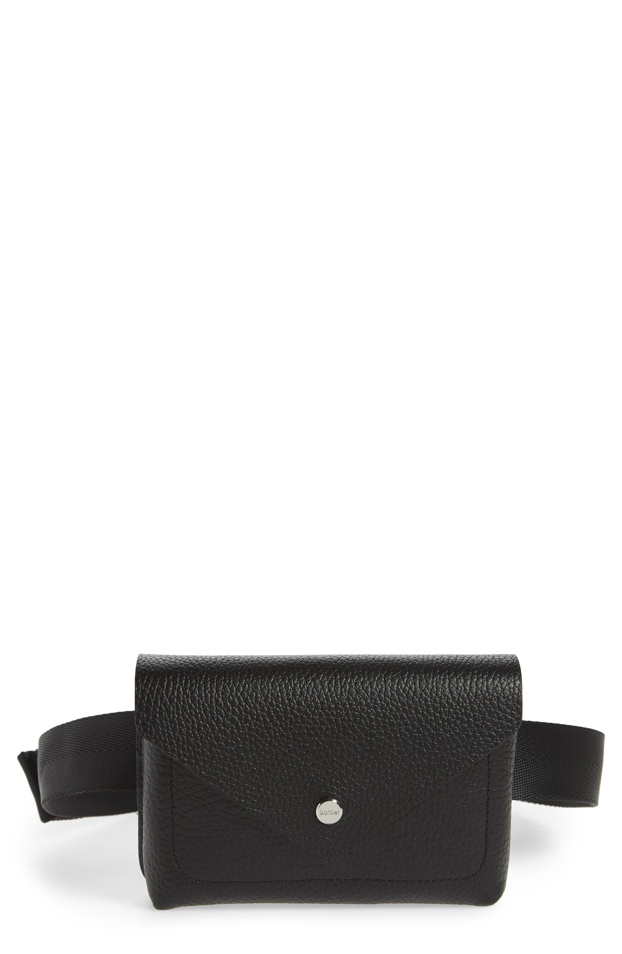 Vivi Calfskin Leather Convertible Belt Bag,                         Main,                         color, BLACK