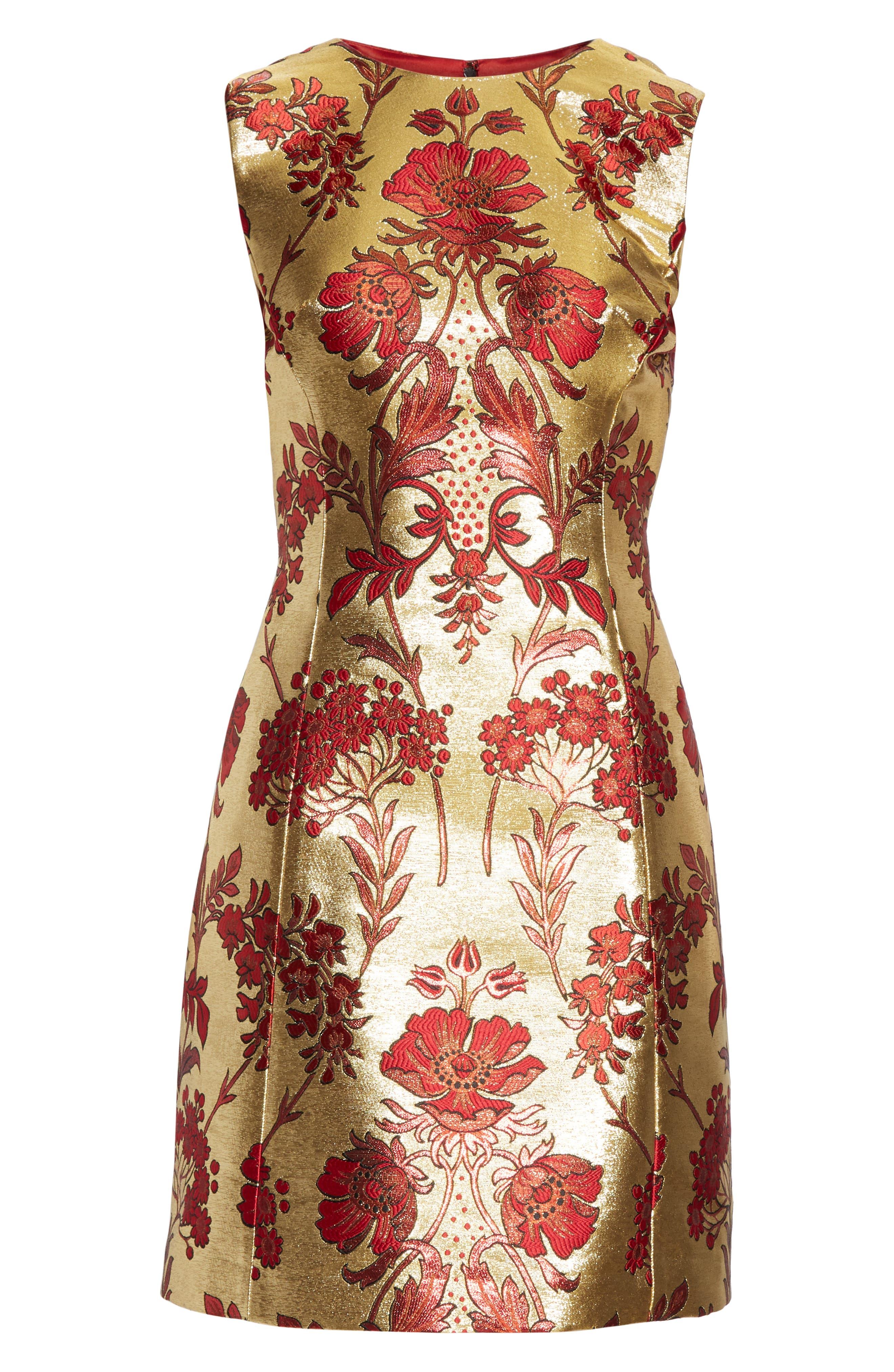 Metallic Jacquard A-Line Dress,                             Alternate thumbnail 6, color,                             S8351 JACQUARD LUREX FLORAL