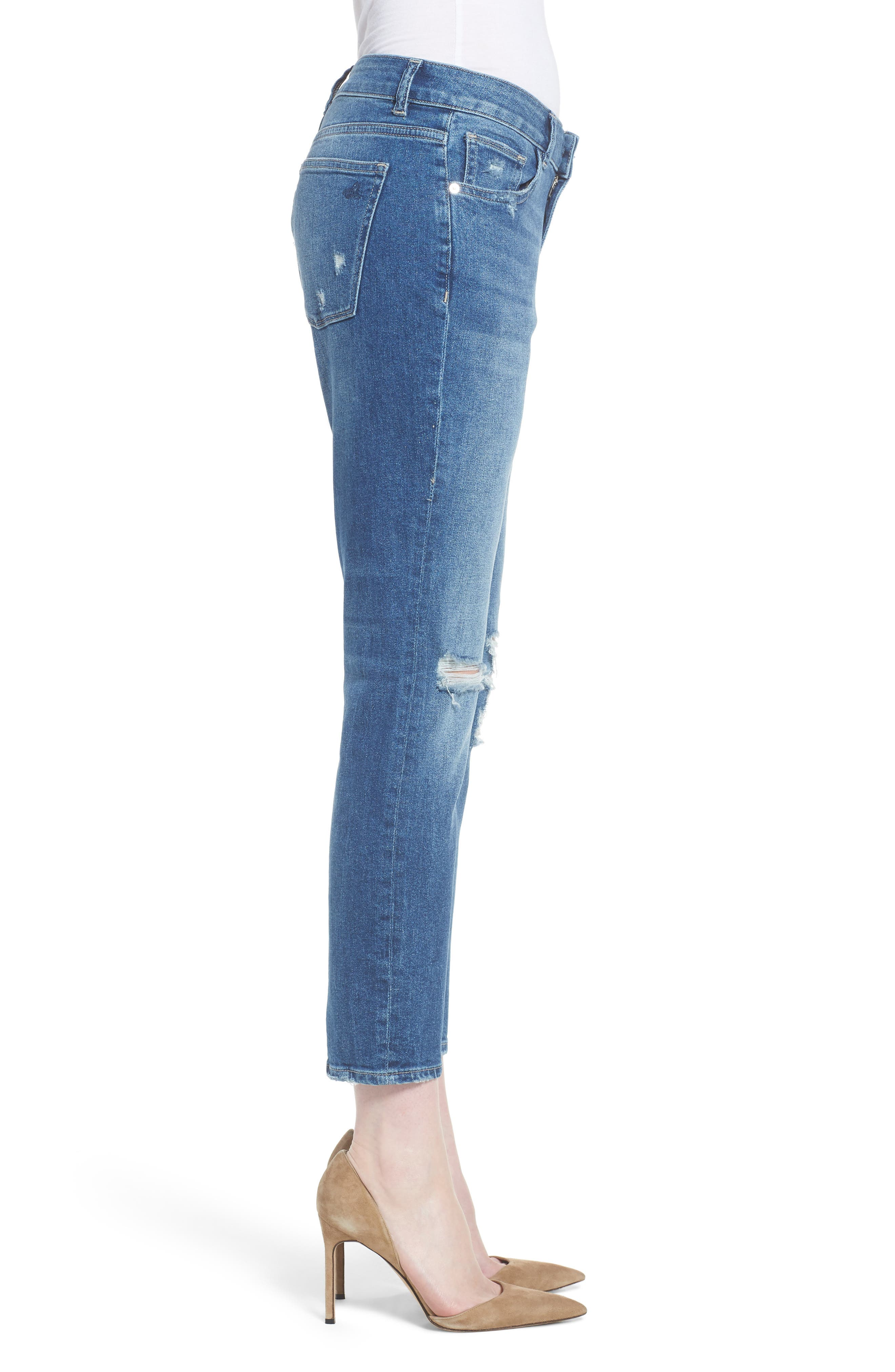 Stevie Distressed Crop Slim Boyfriend Jeans,                             Alternate thumbnail 3, color,                             REBEL