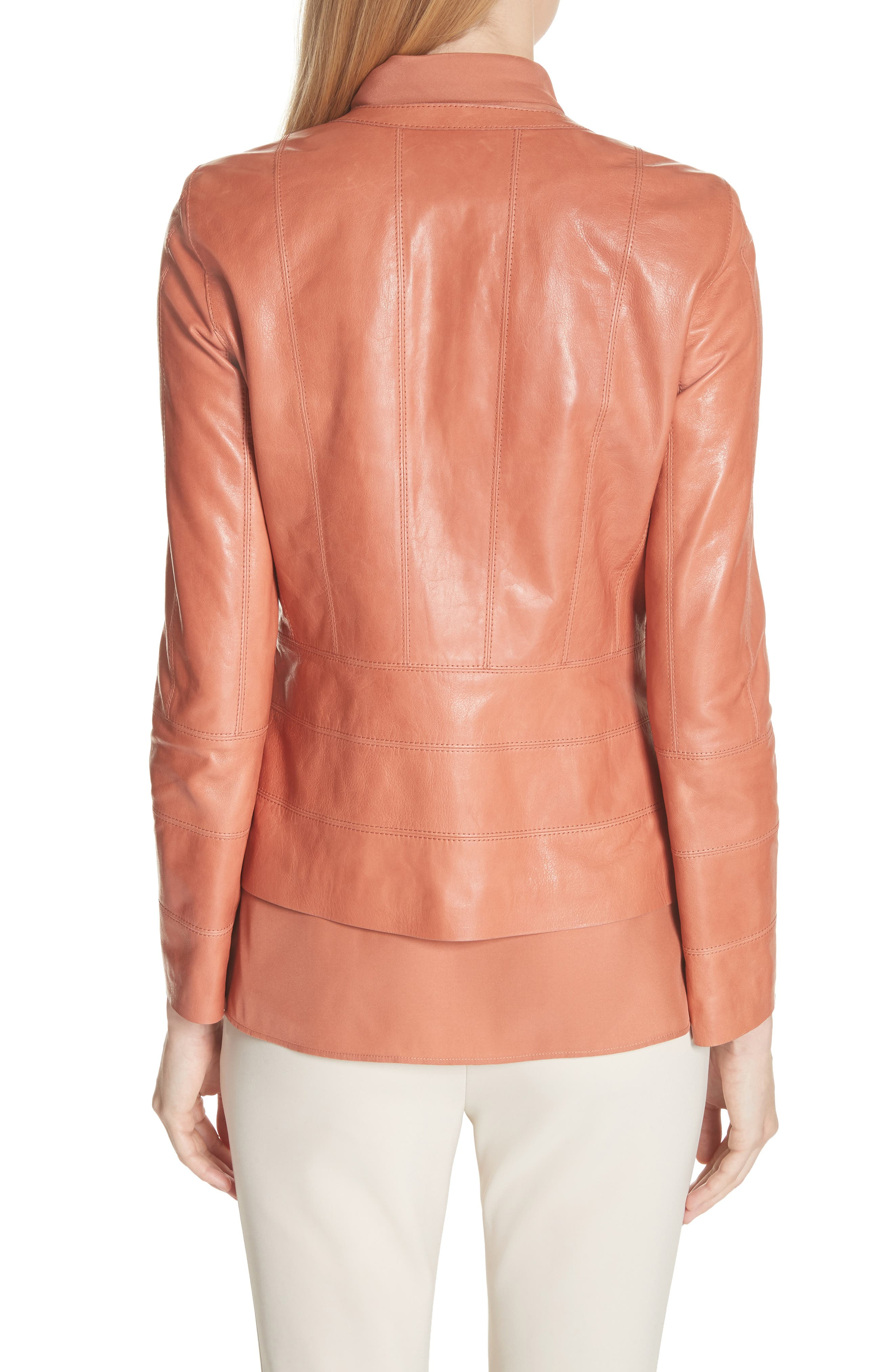 Courtney Glazed Lambskin Leather Jacket,                             Alternate thumbnail 2, color,                             802