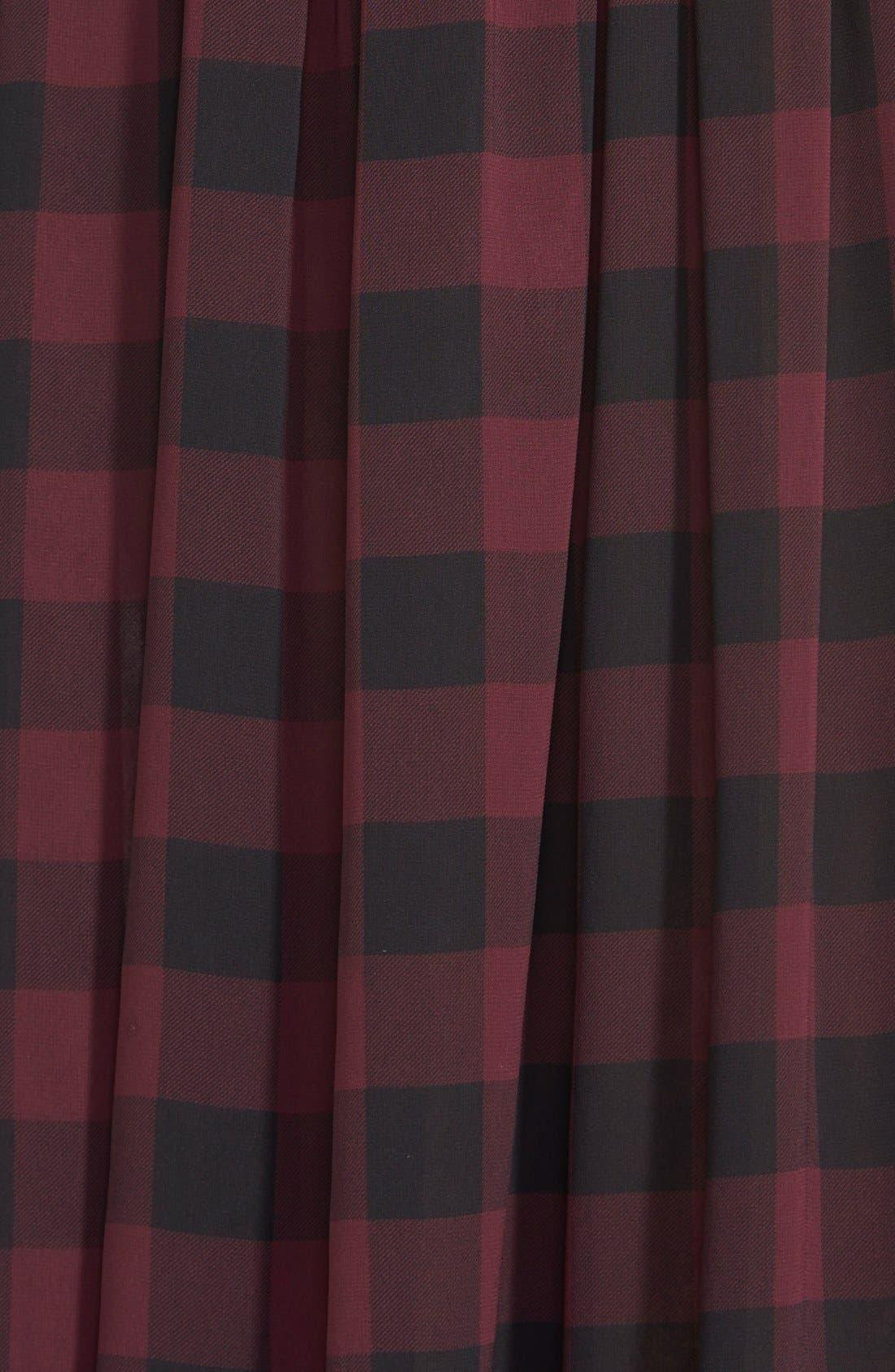 Faux Leather Trim Buffalo Check Midi Skirt,                             Alternate thumbnail 2, color,                             006
